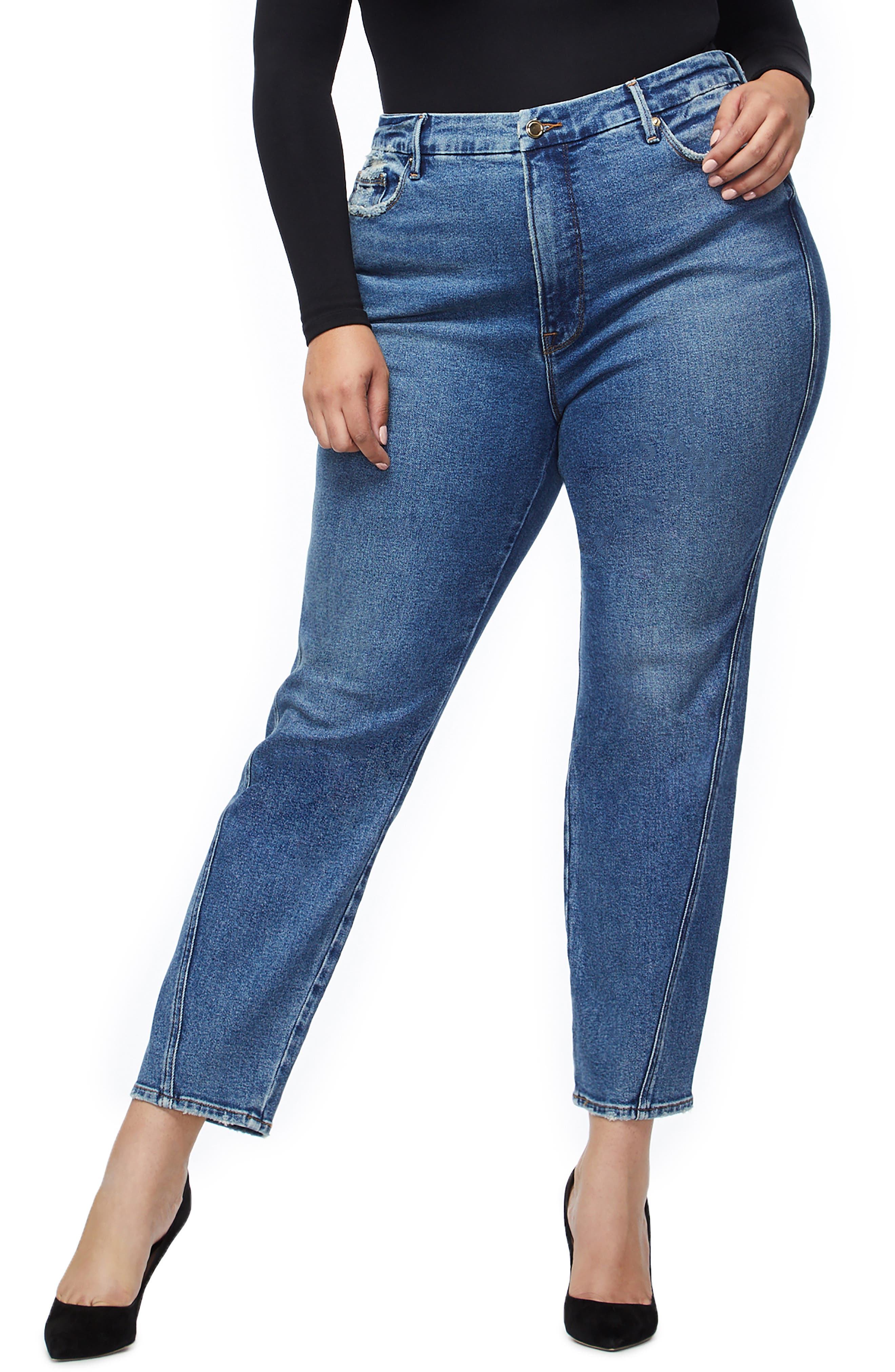 Twist Seam Crop Straight Leg Jeans, Main, color, BLUE214