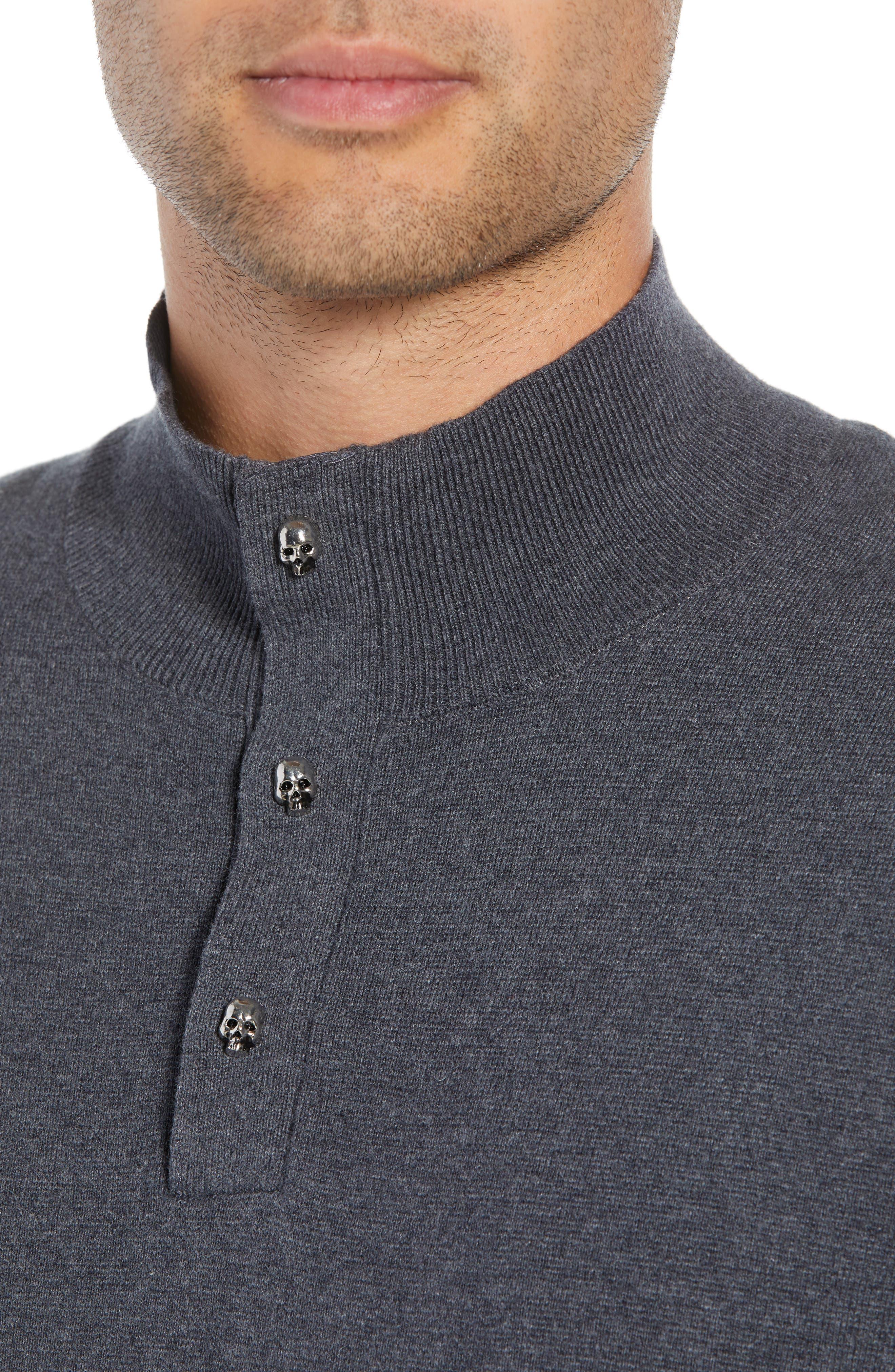 Classic Fit Skullhead Sweater,                             Alternate thumbnail 4, color,                             GREY