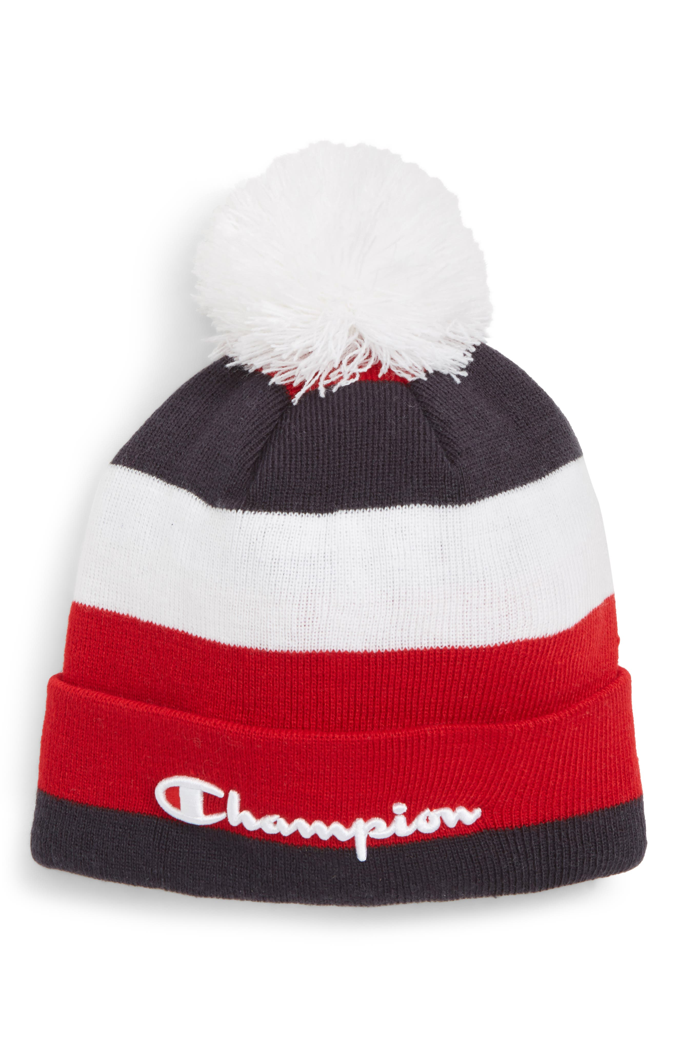 Pom Beanie,                             Main thumbnail 1, color,                             RUGBY STRIPE WHITE/ SCARLET
