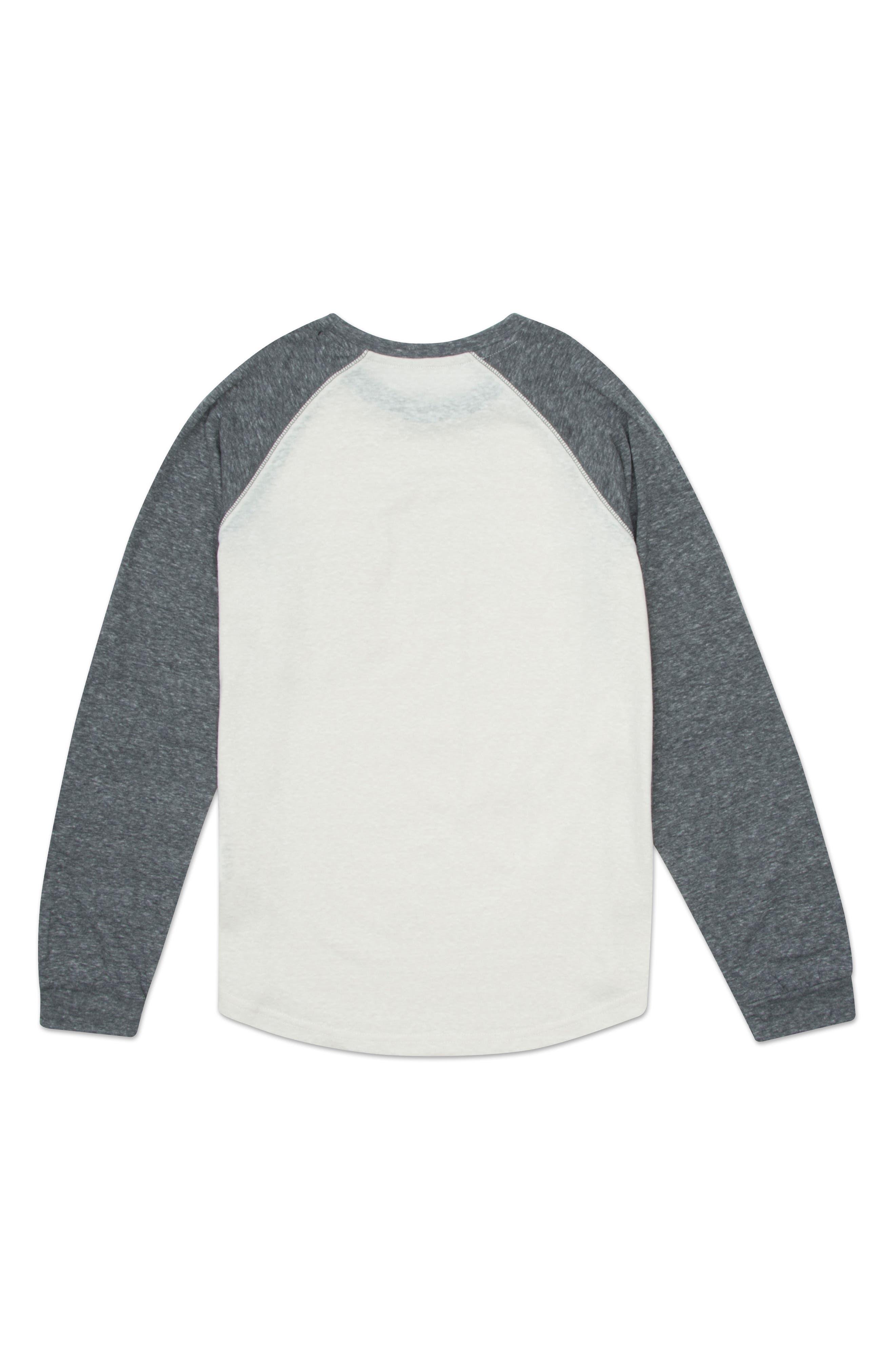 Raglan Baseball T-Shirt,                             Alternate thumbnail 2, color,                             HEATHER WHITE