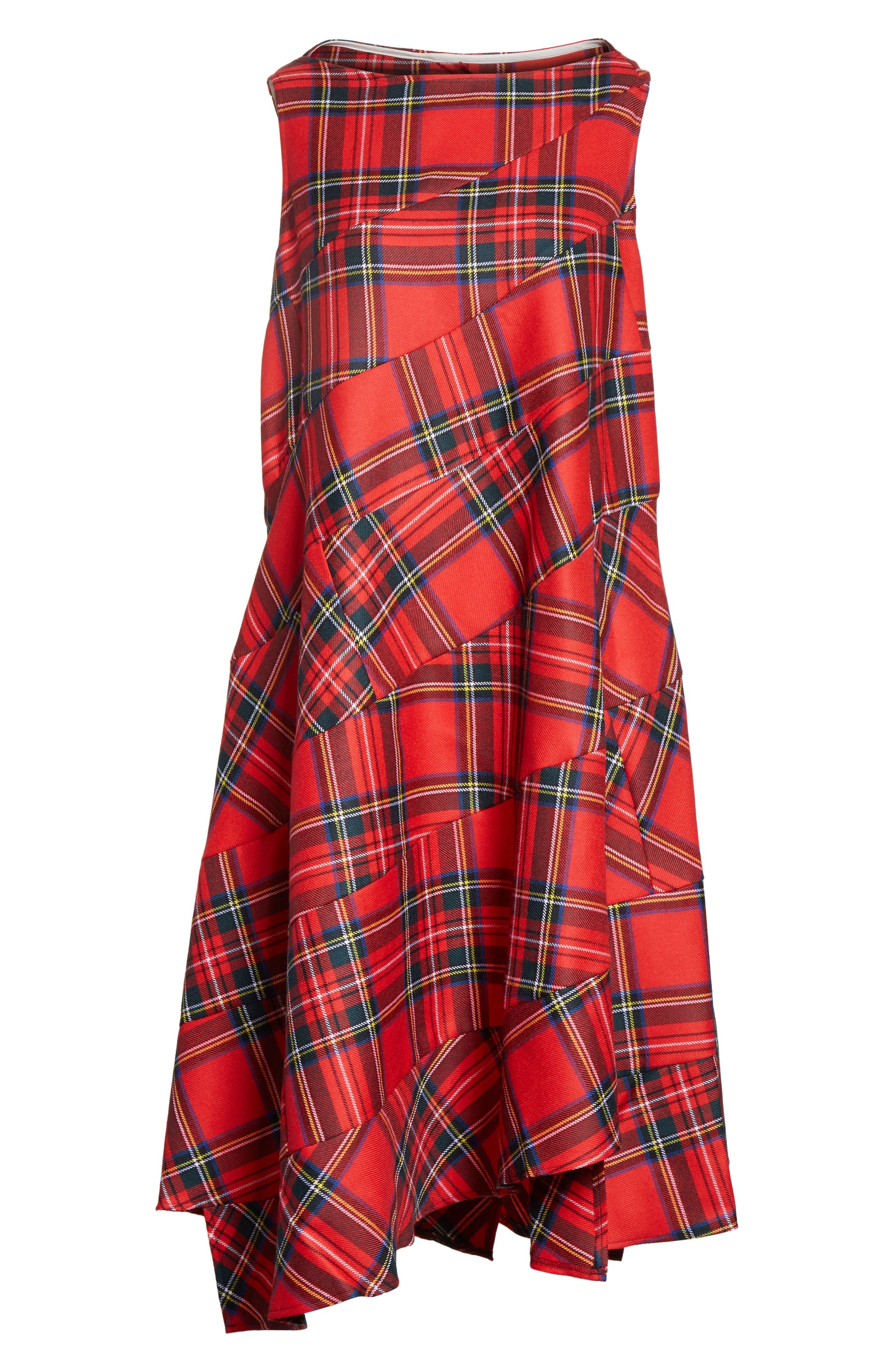 Tartan Plaid Dress,                             Alternate thumbnail 6, color,                             600