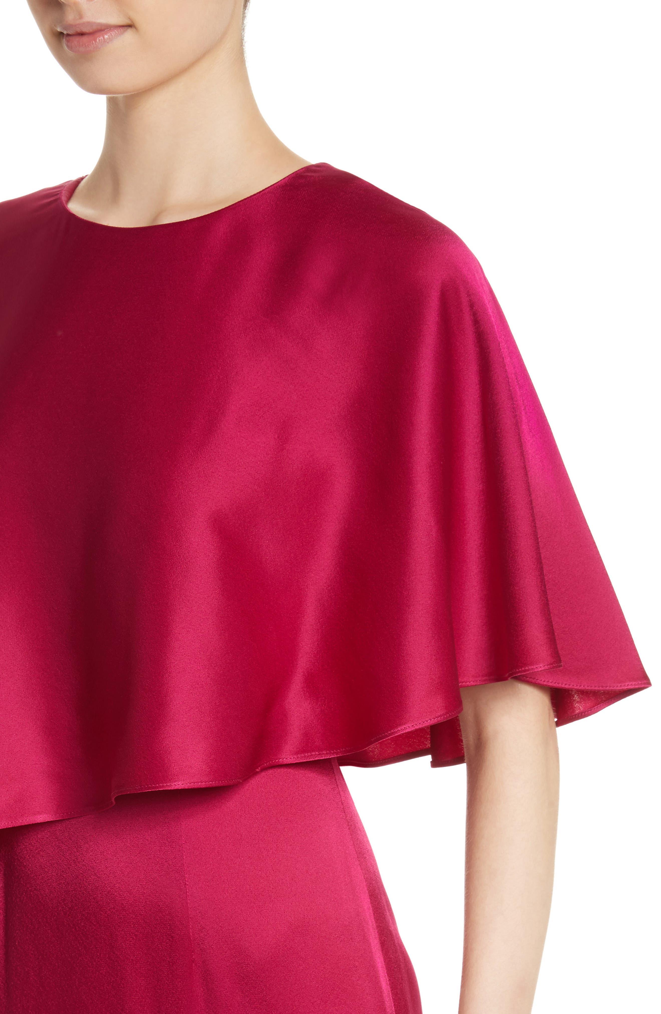 Popover Cape Liquid Crepe Column Gown,                             Alternate thumbnail 4, color,                             651