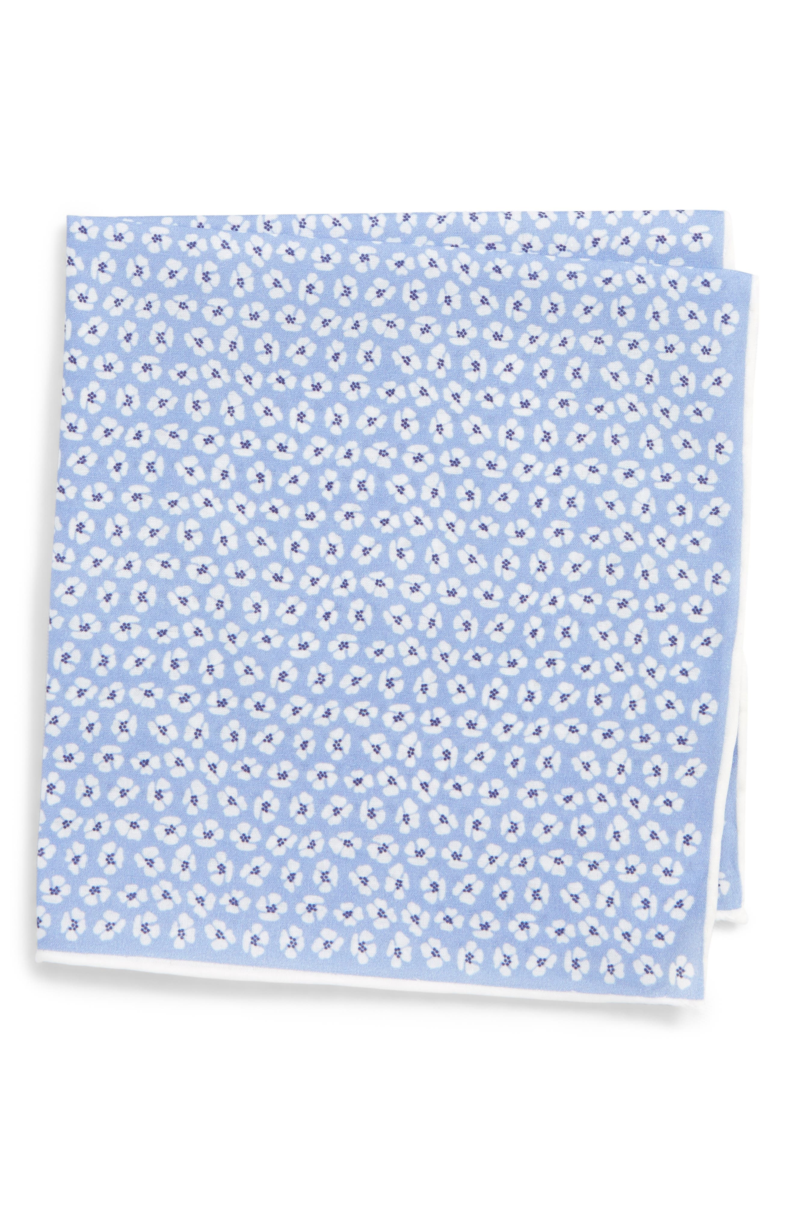 Whitefield Floral Cotton & Silk Pocket Square,                         Main,                         color, BLUE