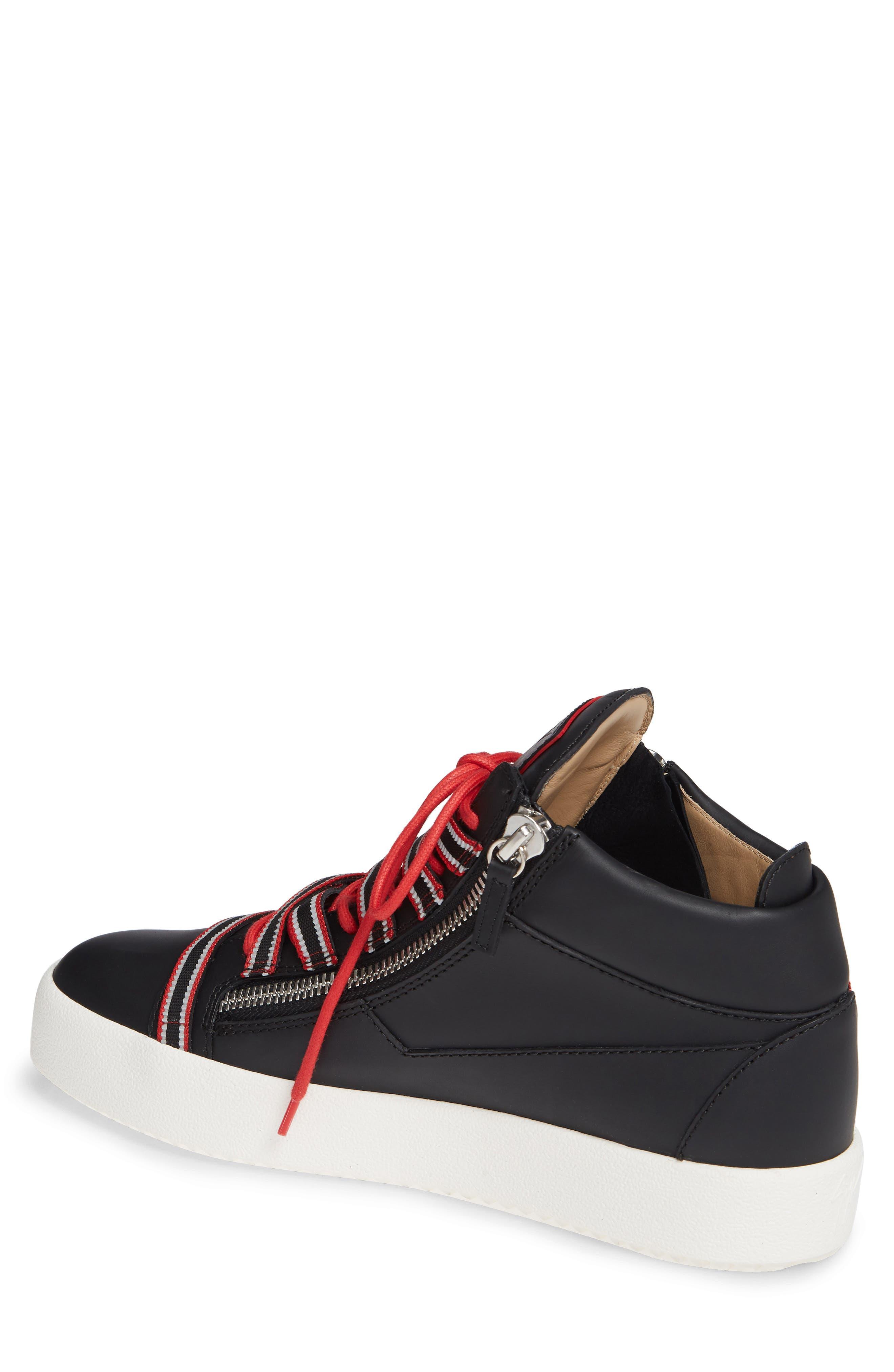 Multistrap Mid Top Sneaker,                             Alternate thumbnail 2, color,                             BLACK/ BLACK
