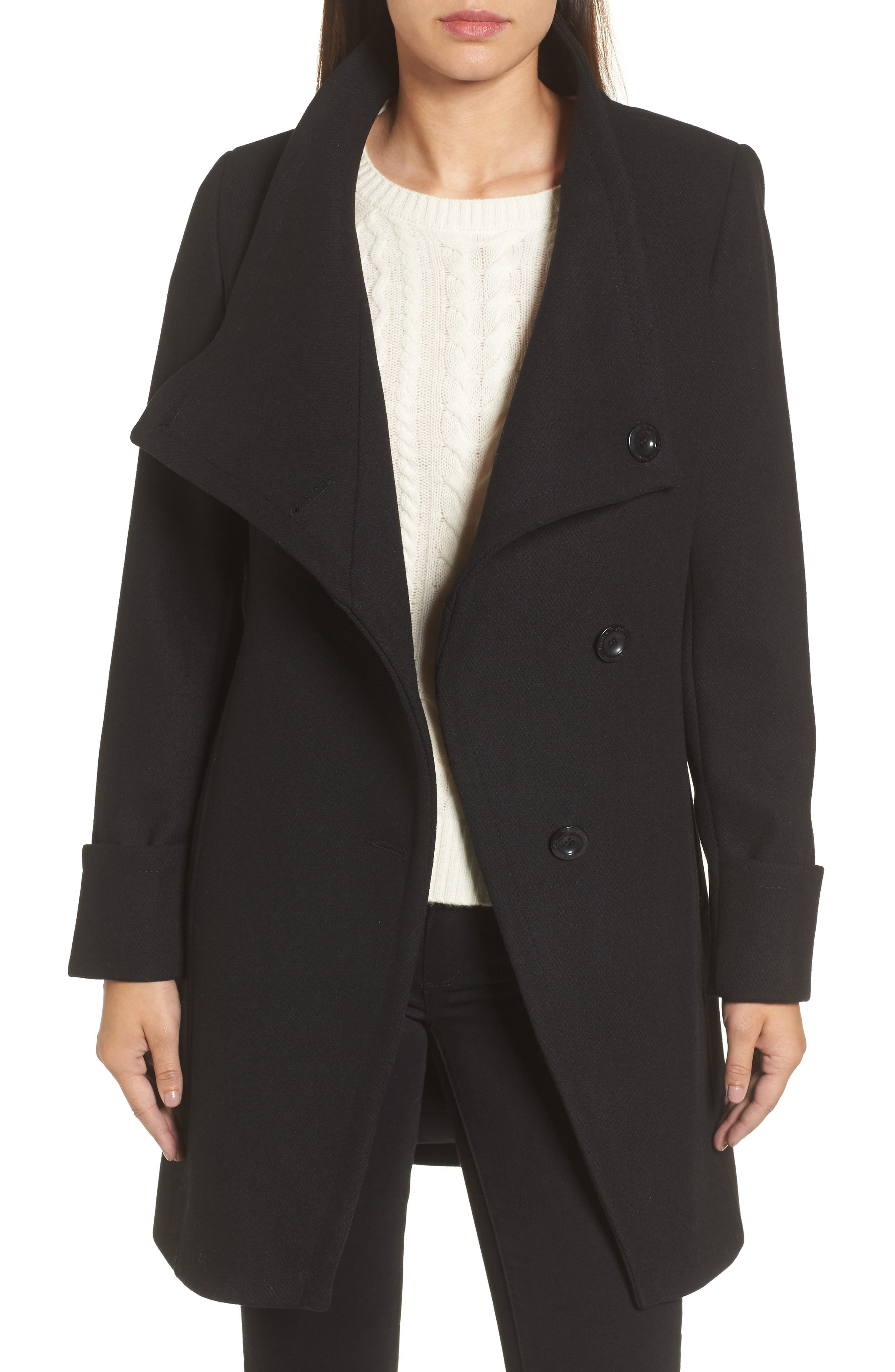 Fiona Double Breasted Coat,                             Main thumbnail 1, color,                             001