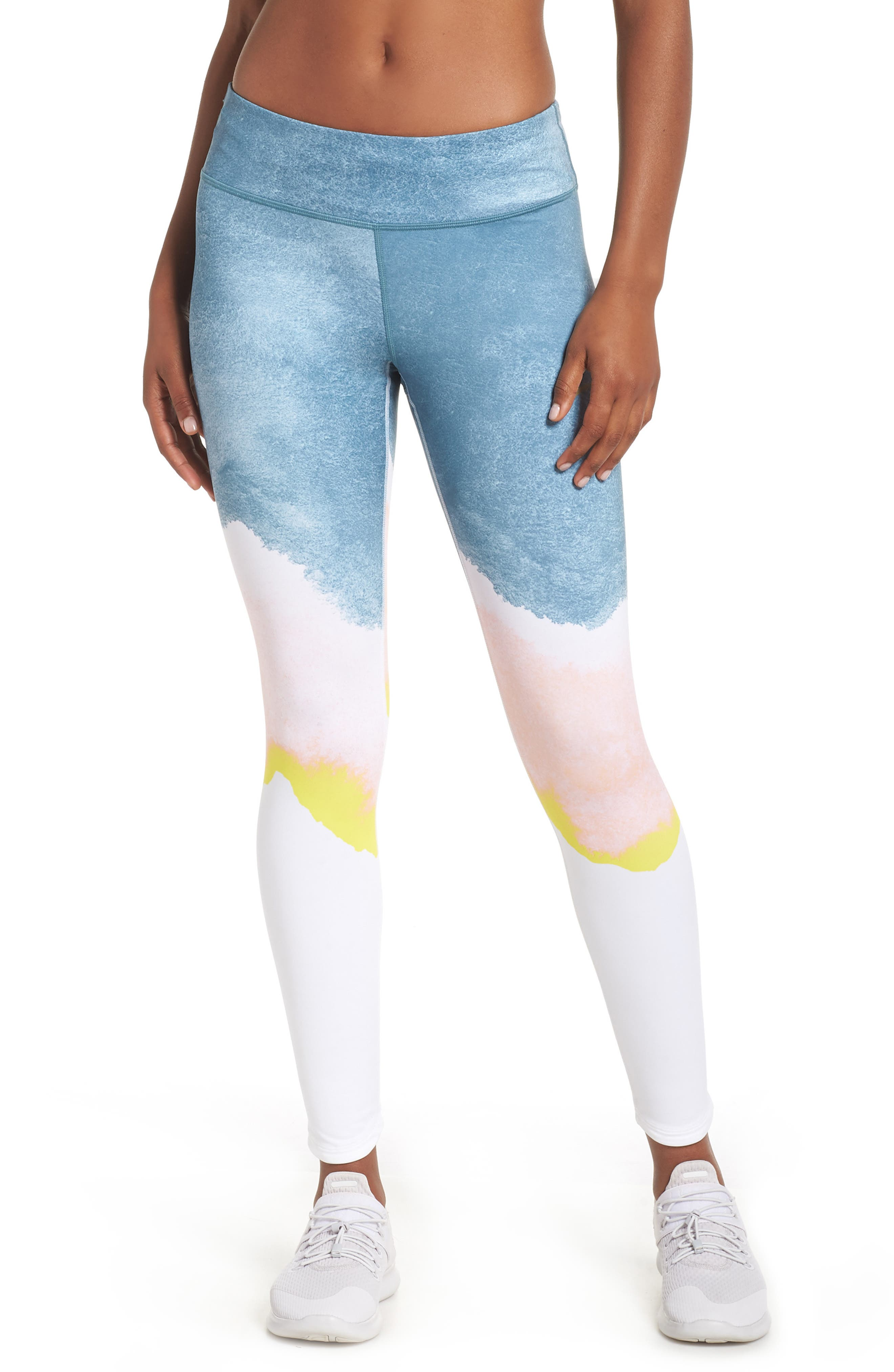Epic Lux Running Leggings,                             Main thumbnail 1, color,                             WHITE/ STORM PINK/ GOLD