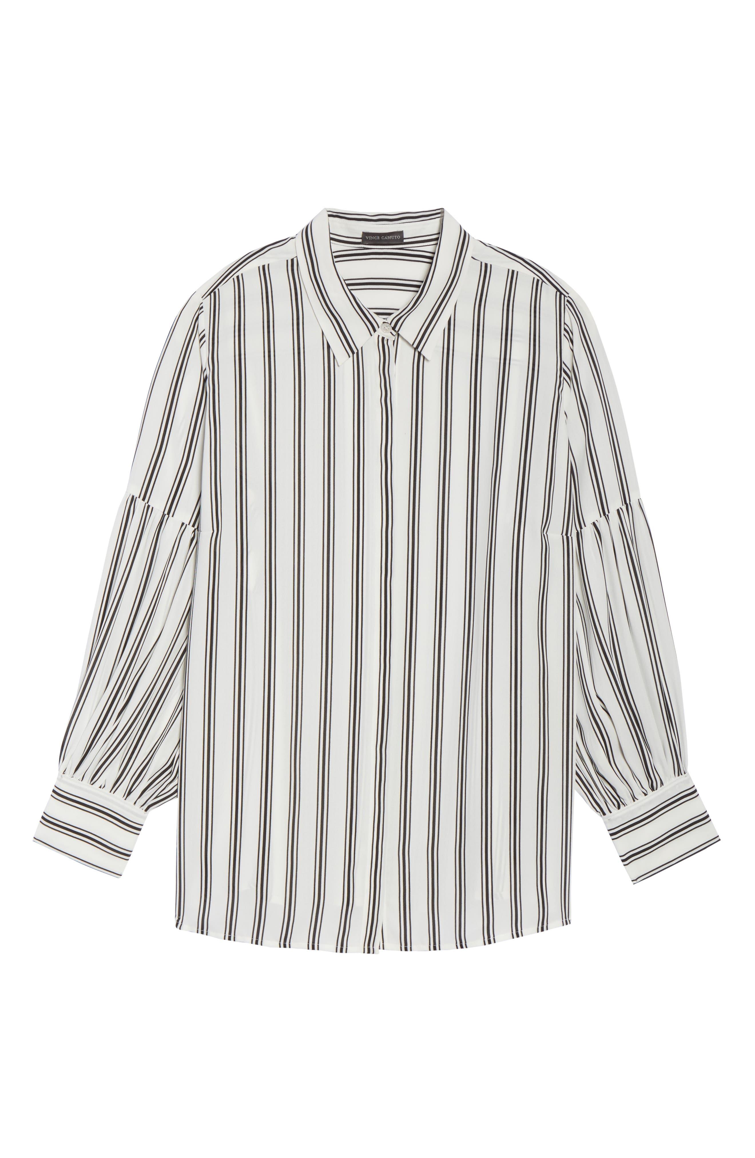 Stripe Puff Sleeve Blouse,                             Alternate thumbnail 6, color,                             901