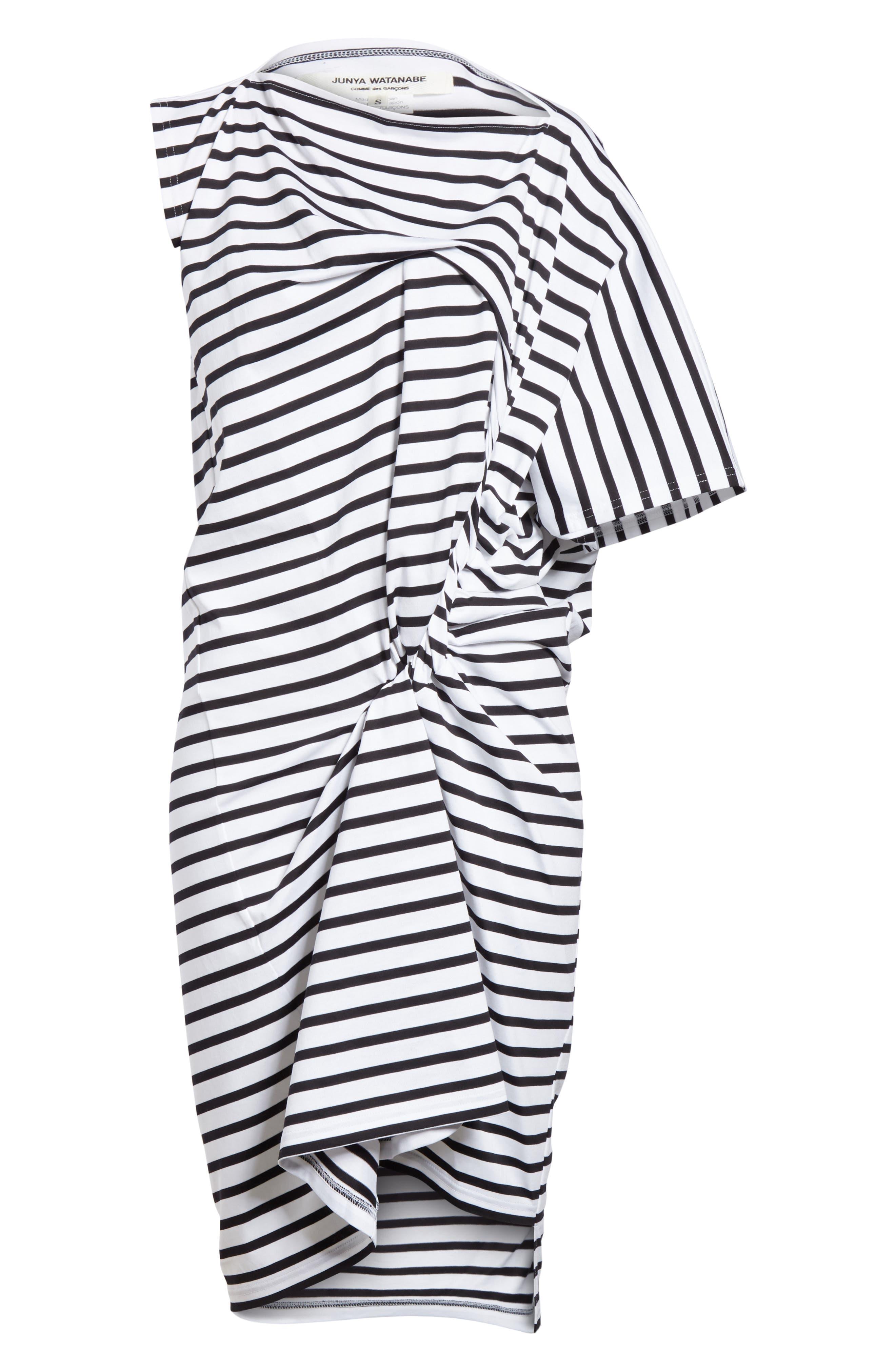 Asymmetrical Stripe Dress,                             Alternate thumbnail 6, color,                             100