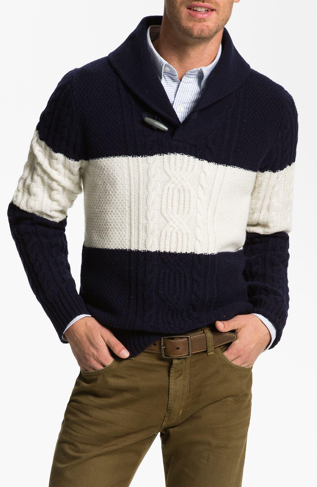 Shawl Collar Wool Sweater,                             Main thumbnail 1, color,                             410