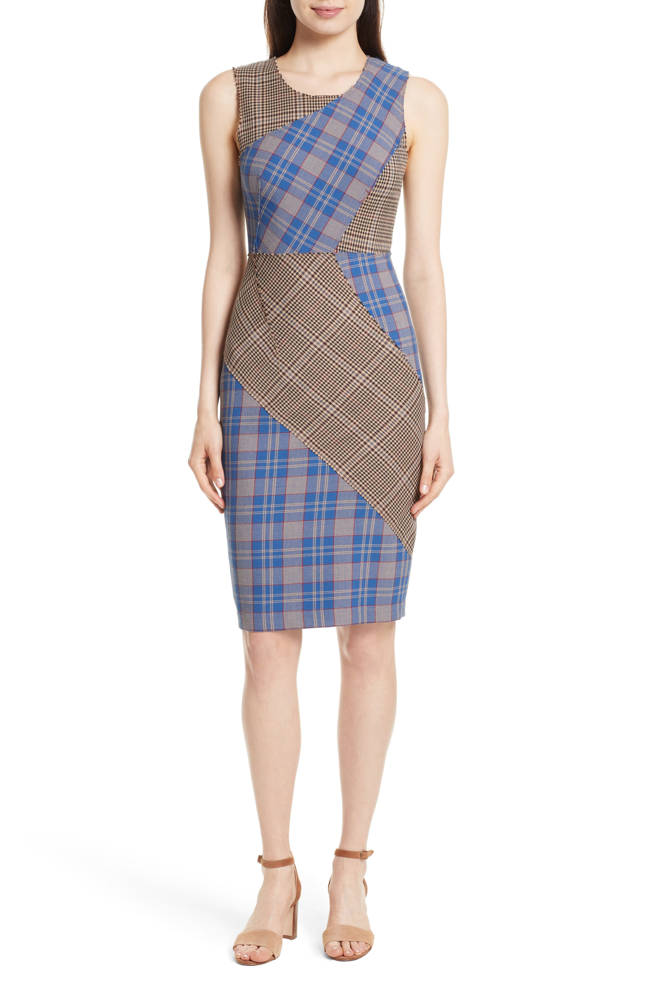 Patchwork Plaid Sheath Dress,                             Main thumbnail 1, color,                             459