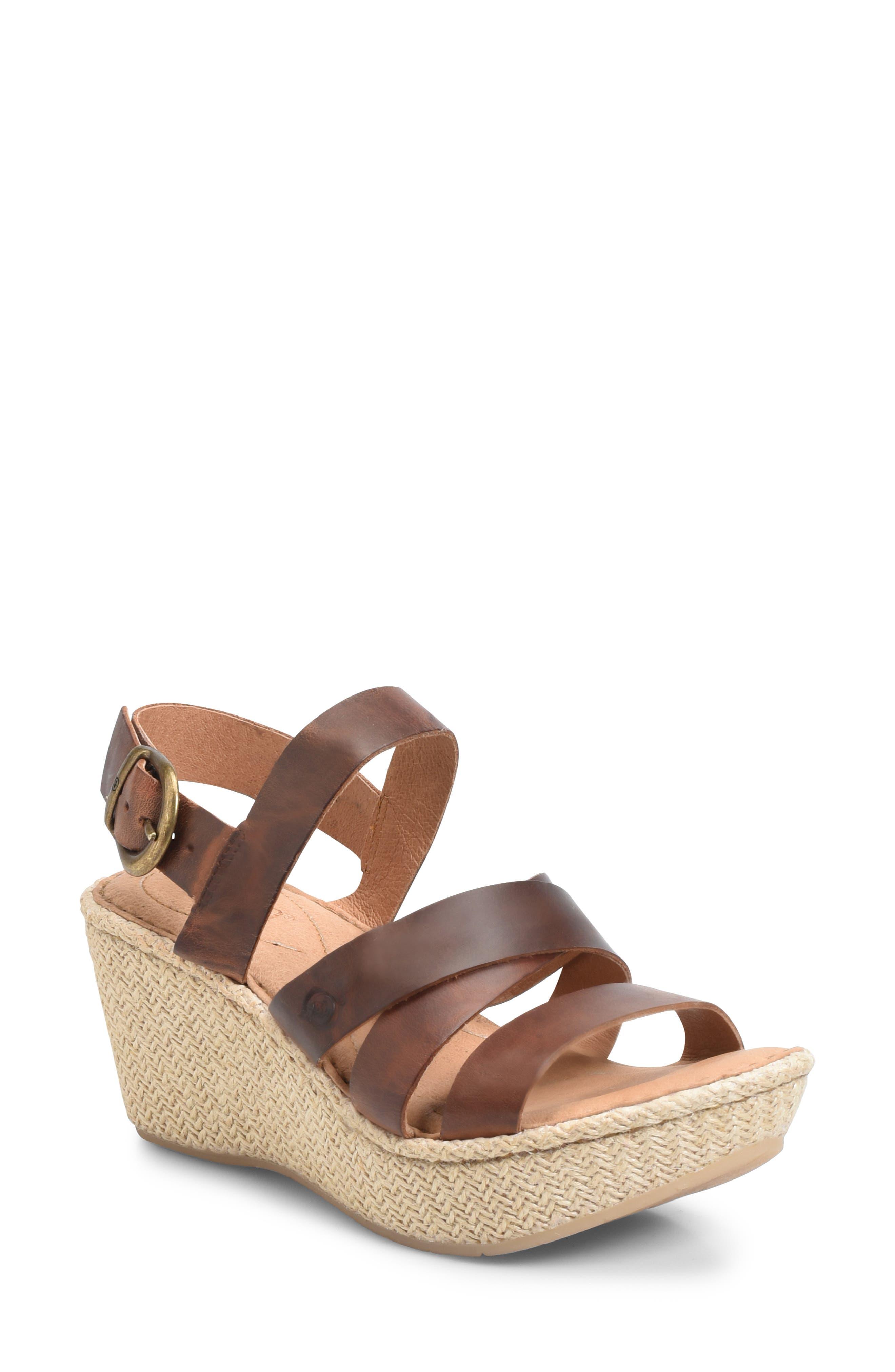 Petur Wedge Sandal,                         Main,                         color, BROWN LEATHER