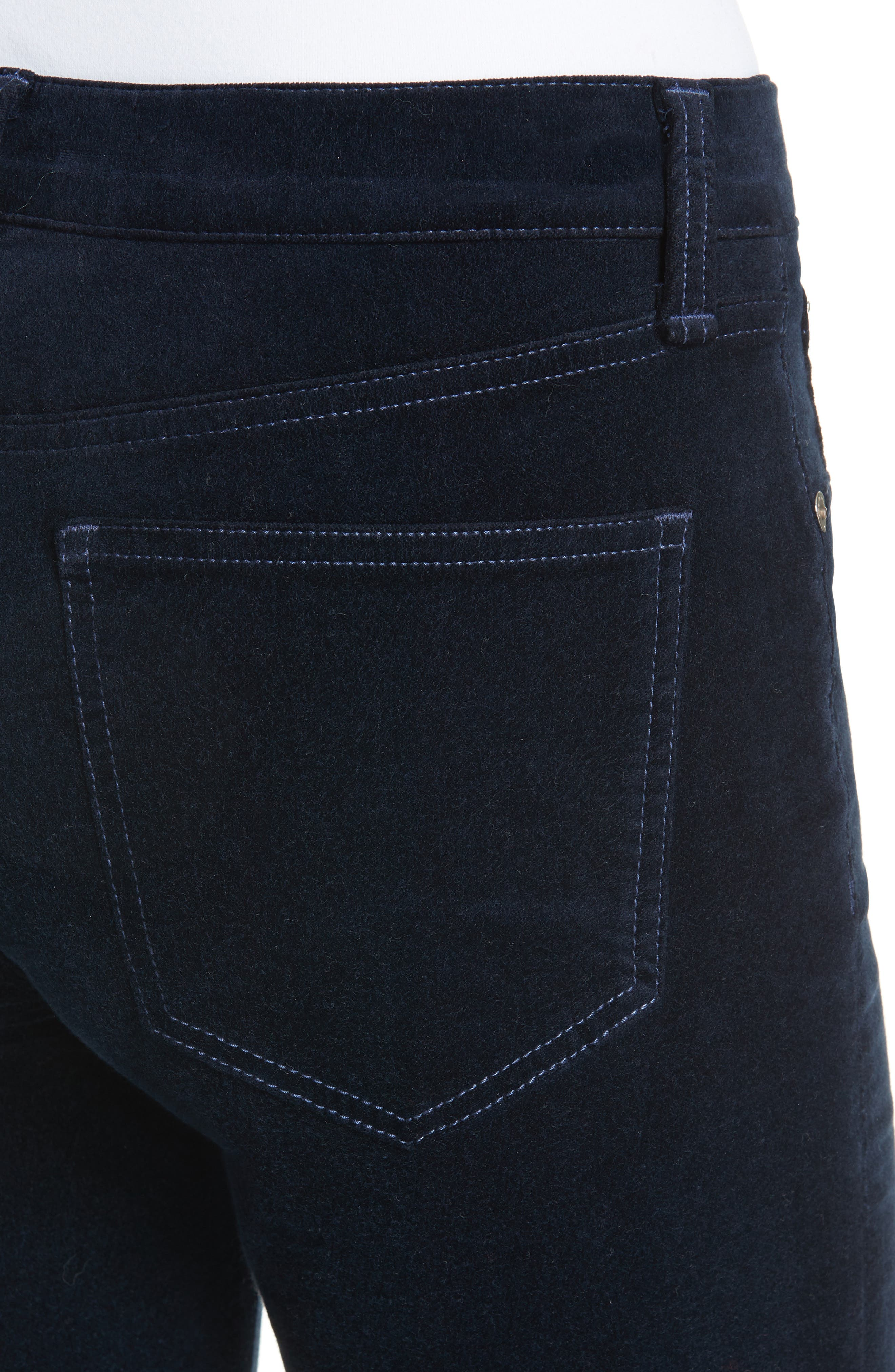Dojo High Waist Velvet Crop Skinny Pants,                             Alternate thumbnail 4, color,                             NAVY