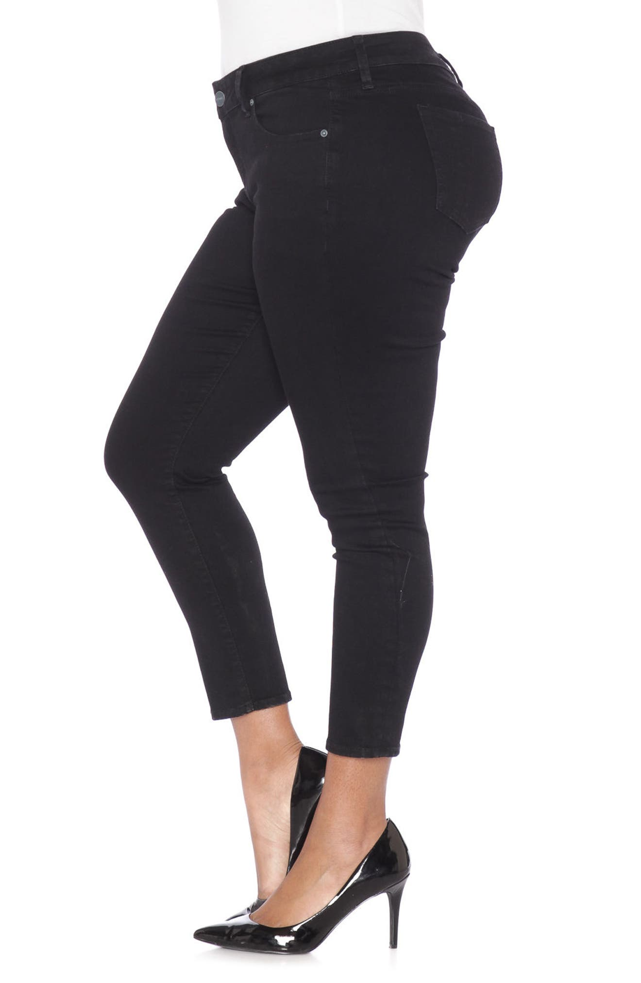 Stretch Ankle Skinny Jeans,                             Alternate thumbnail 3, color,                             BLACK