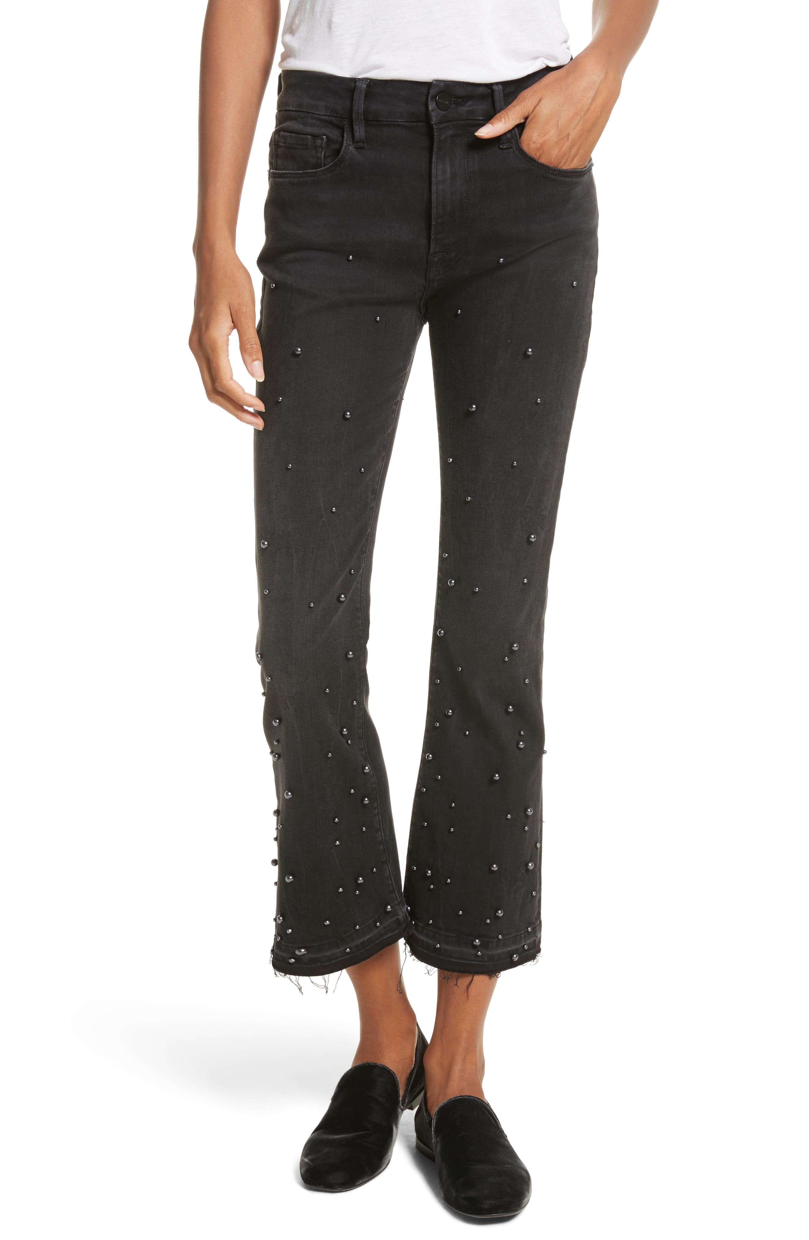 Raw Edge High Rise Embellished Crop Jeans,                             Main thumbnail 1, color,                             020