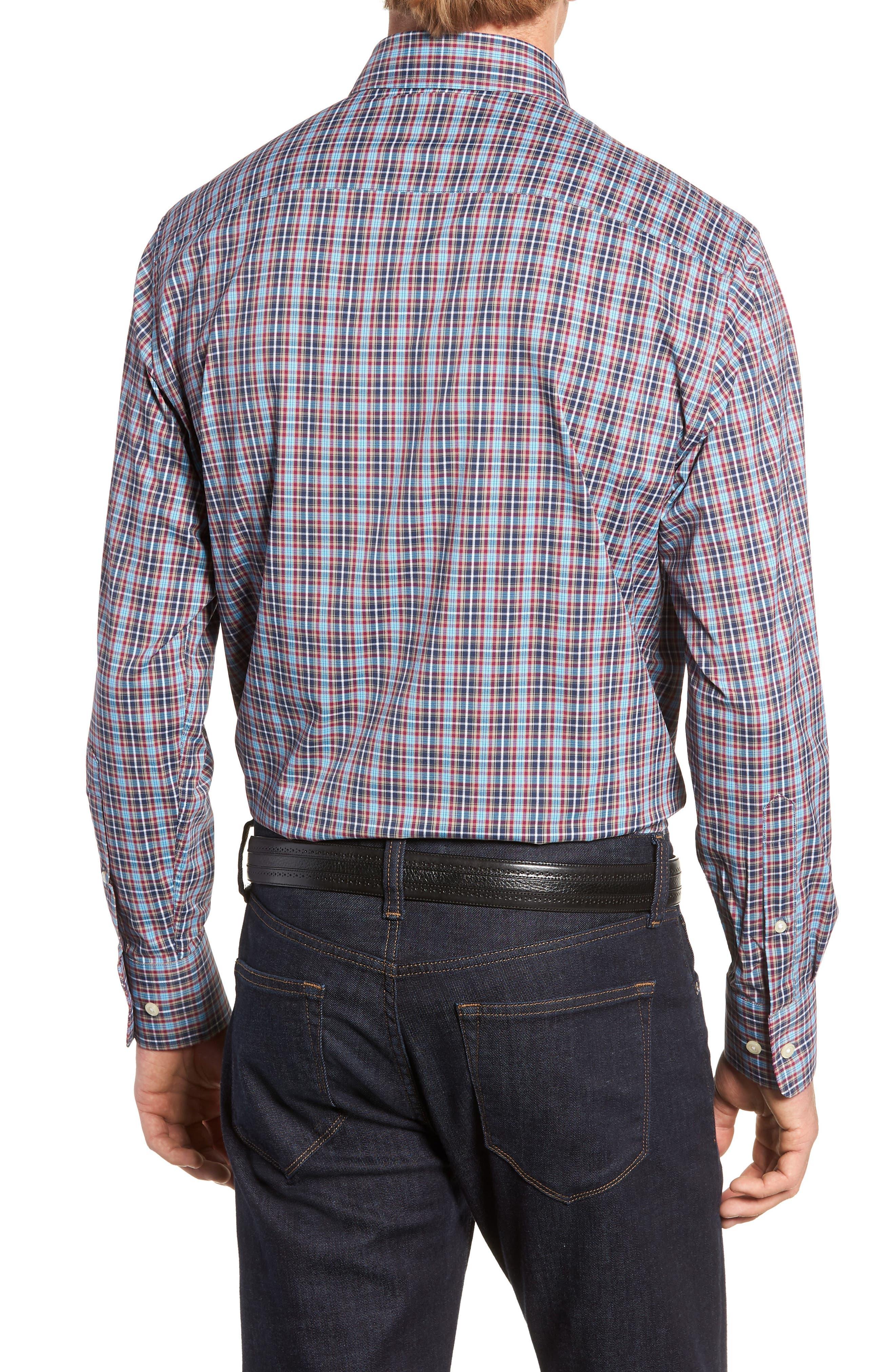 Clyde Plaid Performance Sport Shirt,                             Alternate thumbnail 3, color,                             NAVY