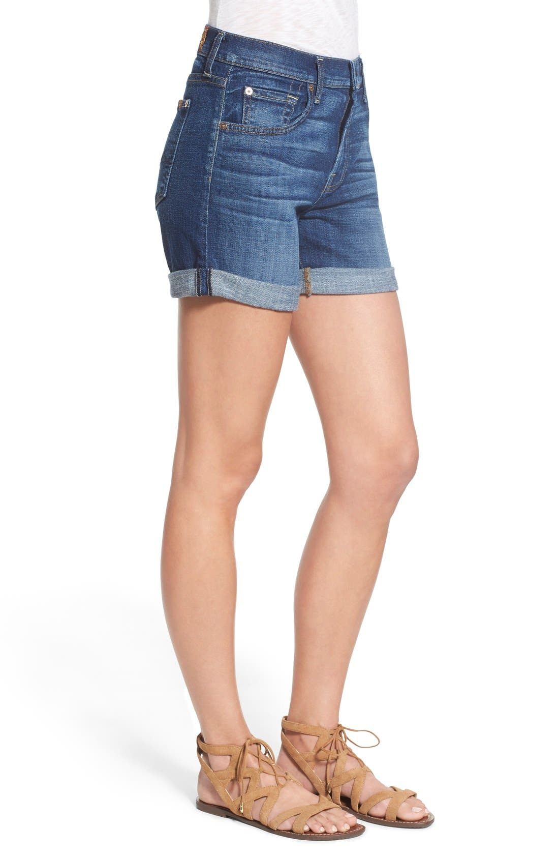 Relaxed High Rise Denim Shorts,                             Alternate thumbnail 4, color,                             400