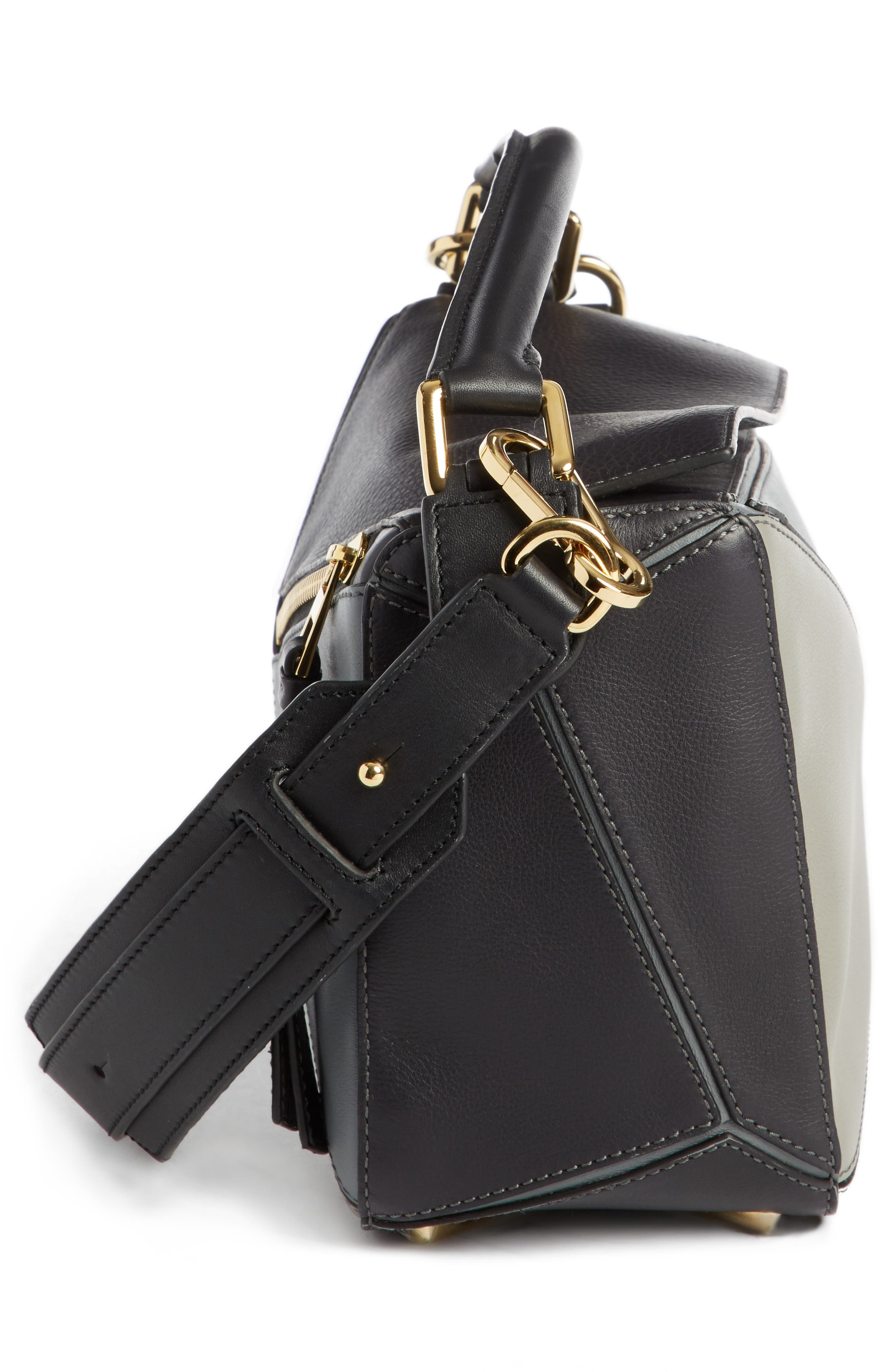 Small Puzzle Colorblock Calfskin Leather Bag,                             Alternate thumbnail 3, color,                             070