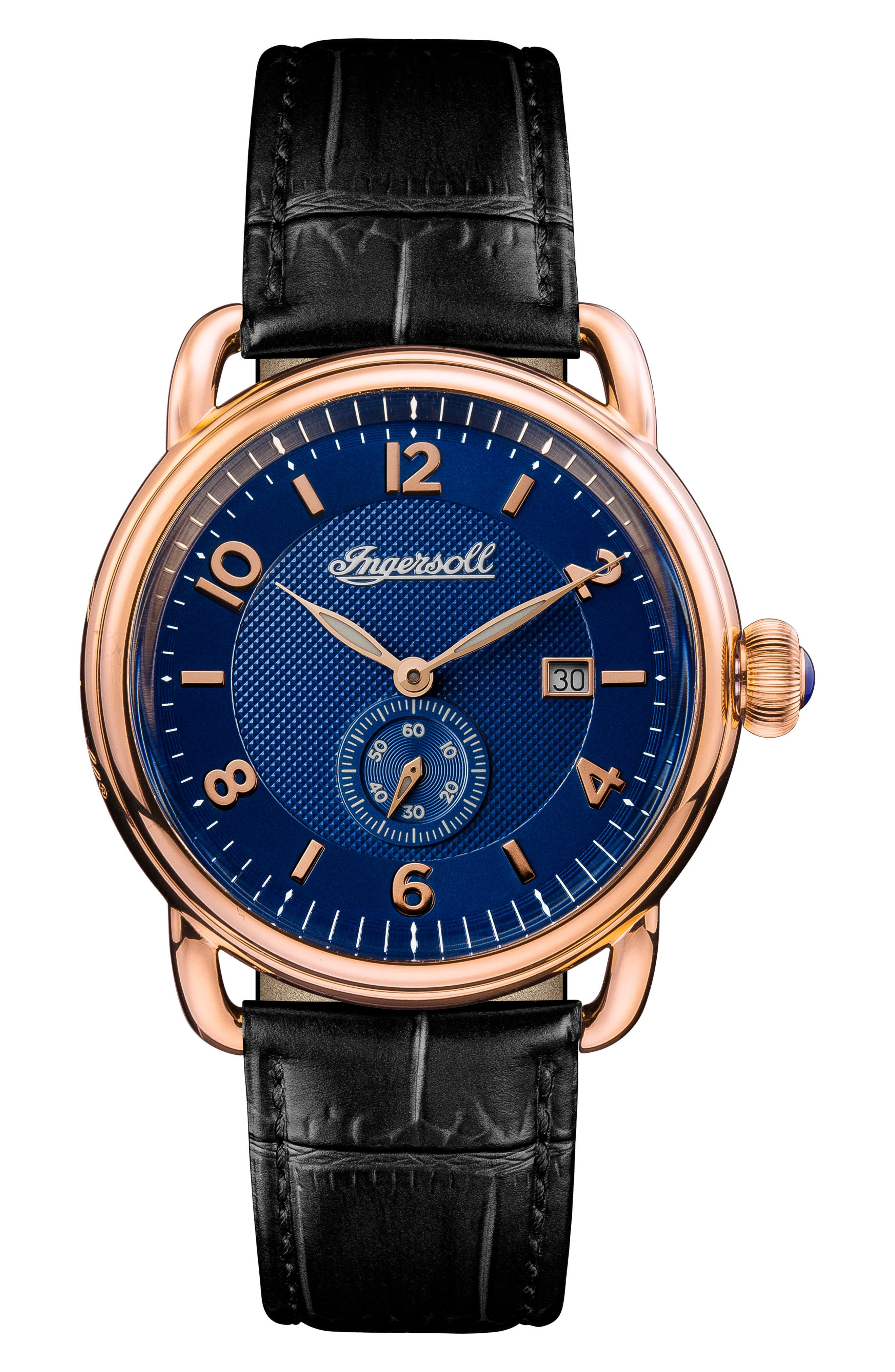 Ingersoll New England Leather Strap Watch, 42mm,                             Main thumbnail 2, color,