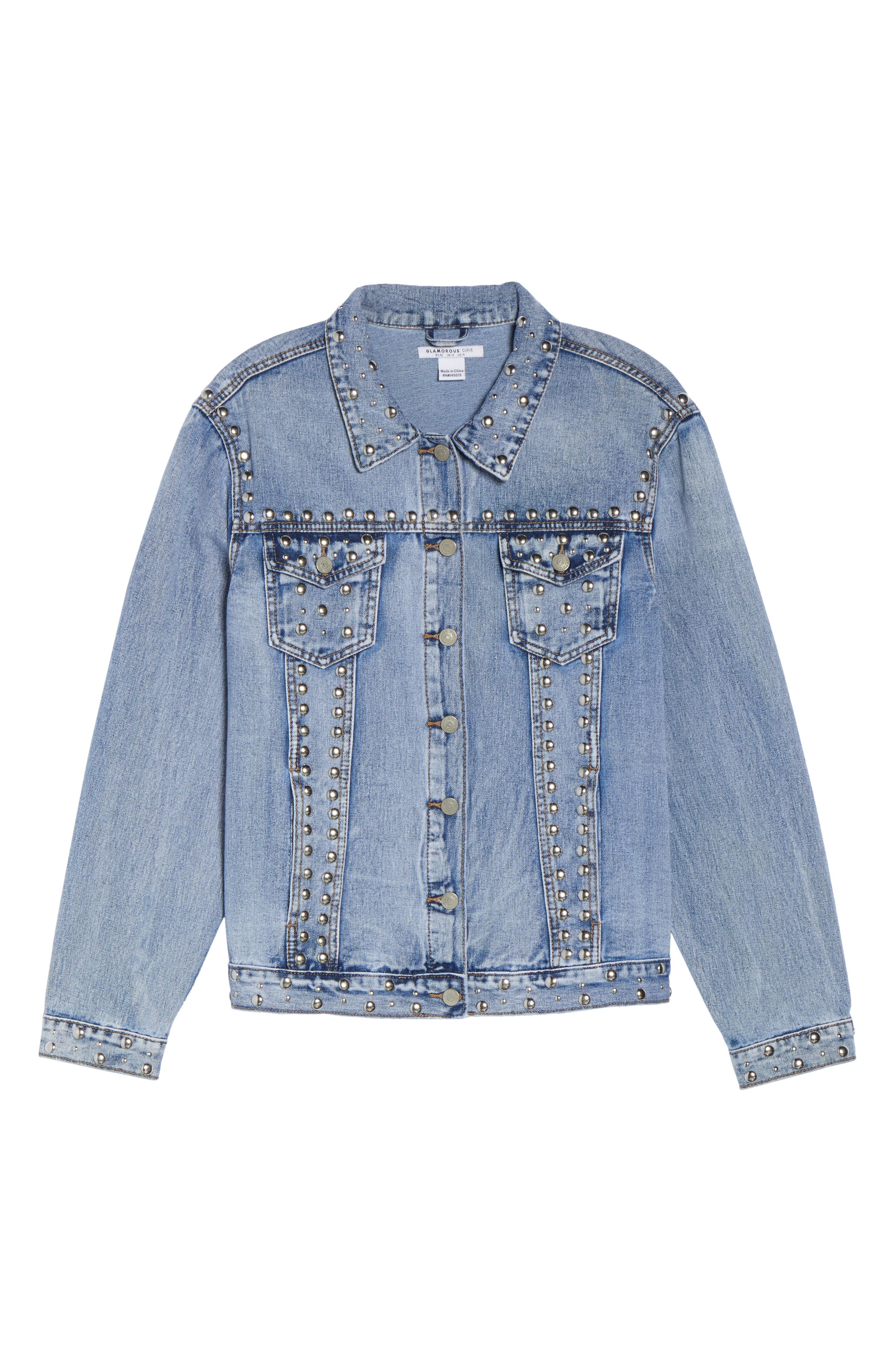 Studded Jean Jacket,                             Alternate thumbnail 5, color,