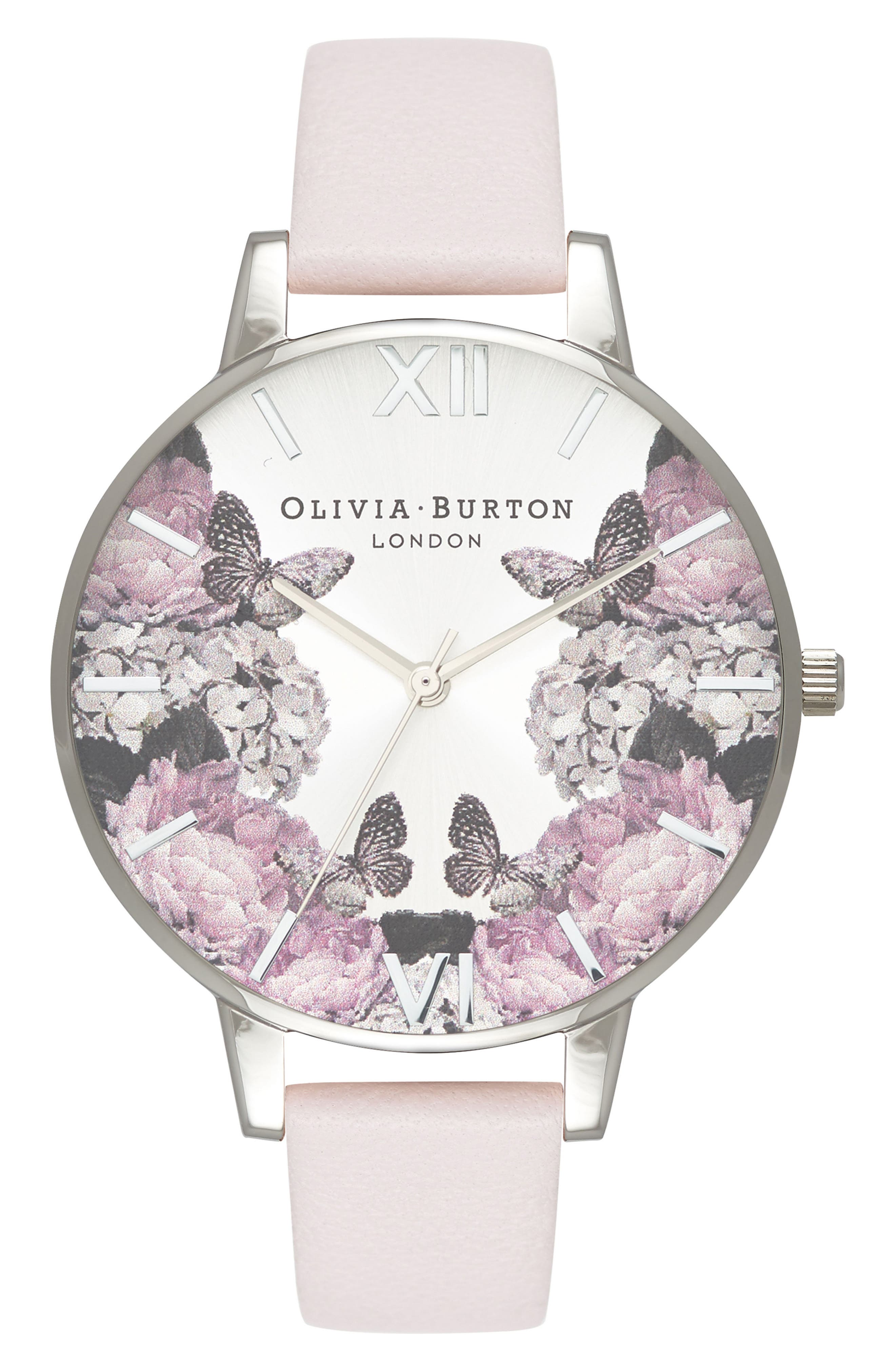 Signature Floral Leather Strap Watch, 38mm,                         Main,                         color, BLUSH/ BLACK/ SILVER