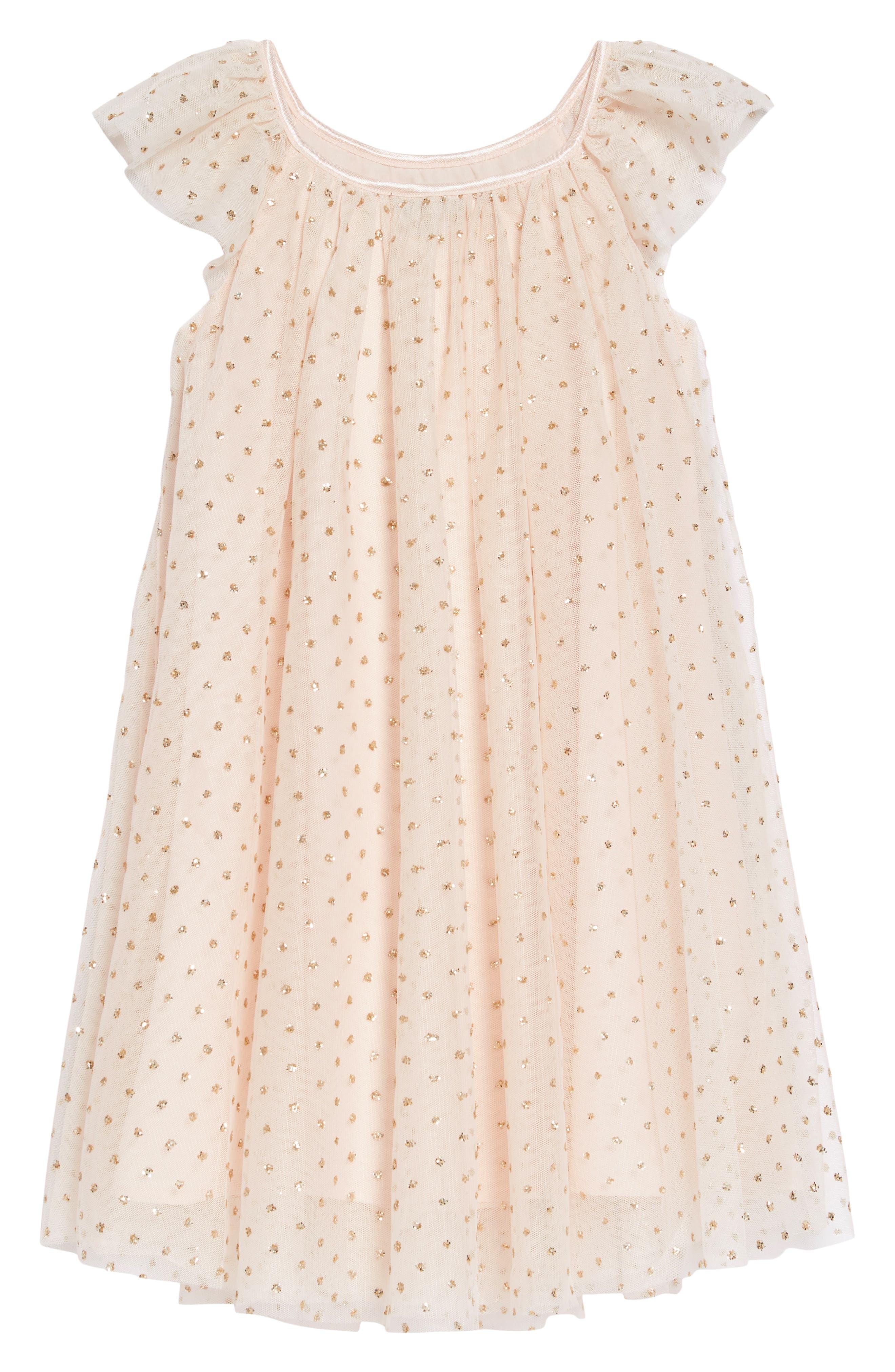 ZUNIE Flutter Sleeve Glitter Dress, Main, color, BLUSH