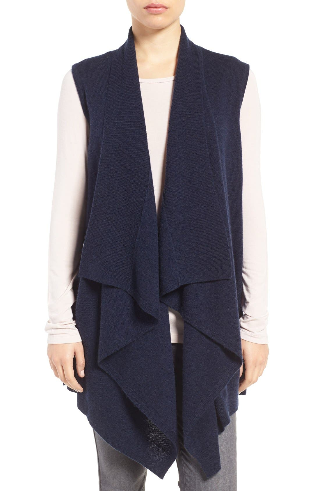 Wool & Cashmere Drape Front Sweater Vest,                             Main thumbnail 7, color,