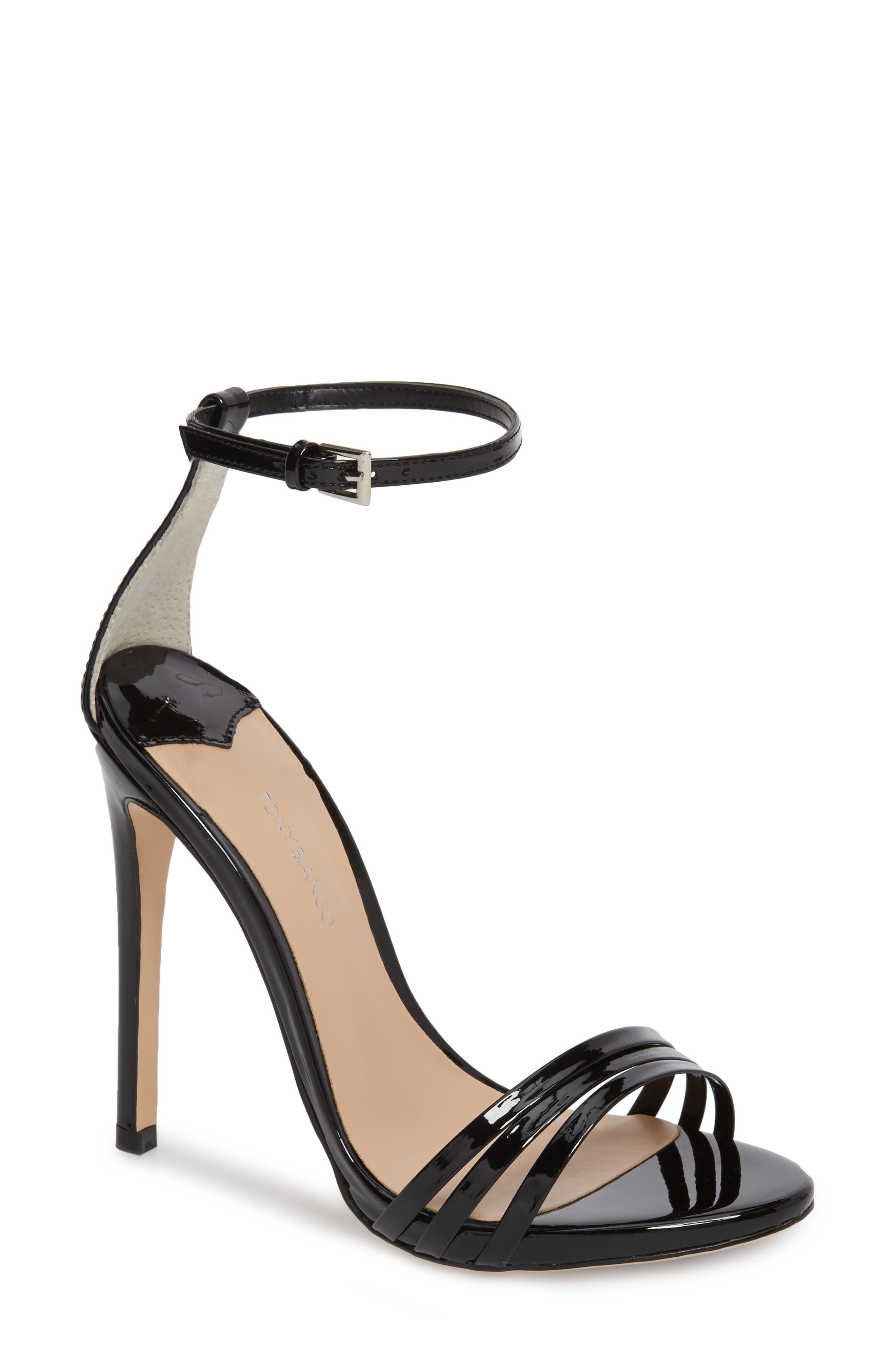 Aroma Strappy Sandal,                         Main,                         color, BLACK PATENT LEATHER