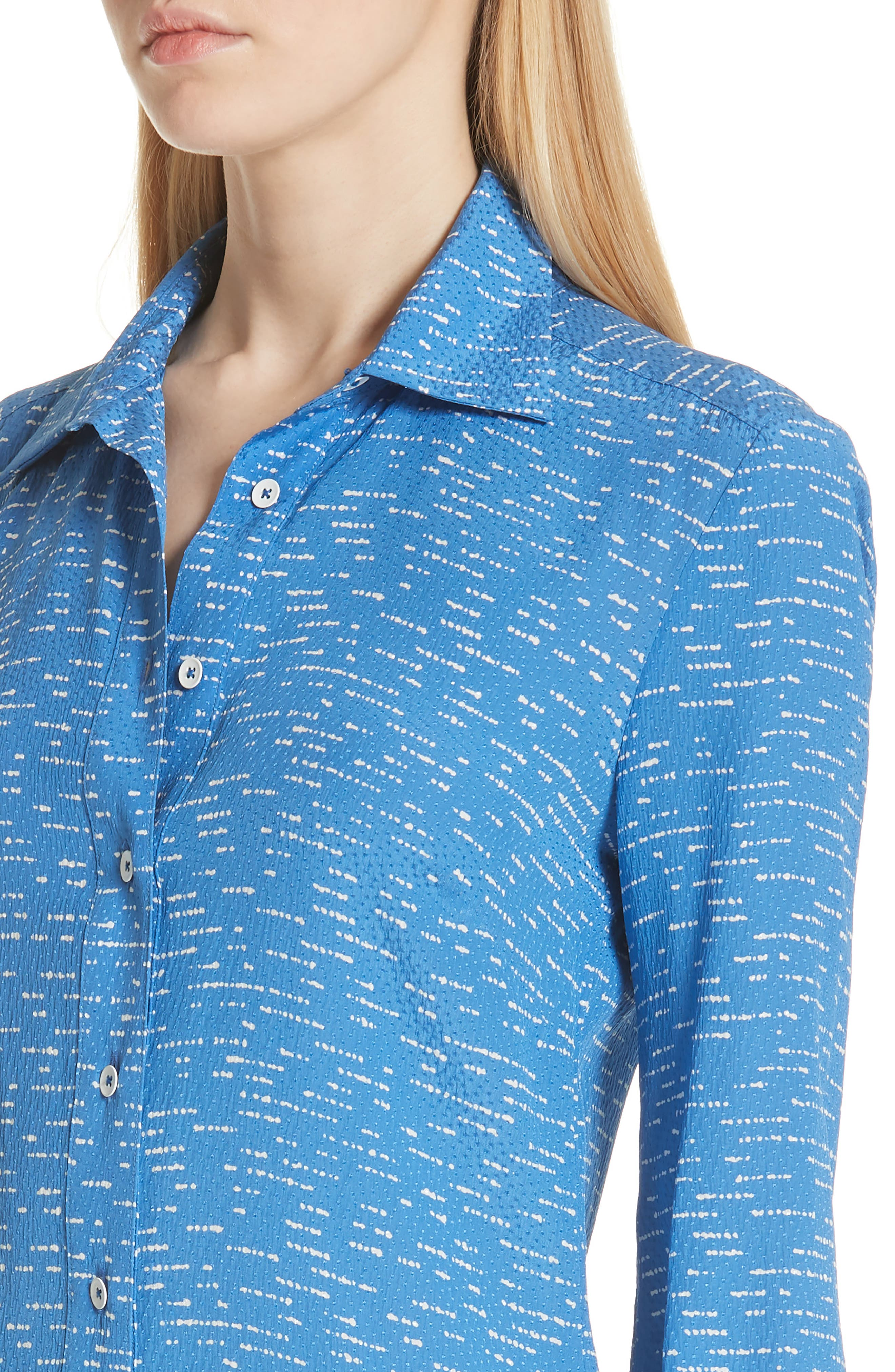 Silk Shirtdress with Asymmetric Hem,                             Alternate thumbnail 4, color,                             BALTIC