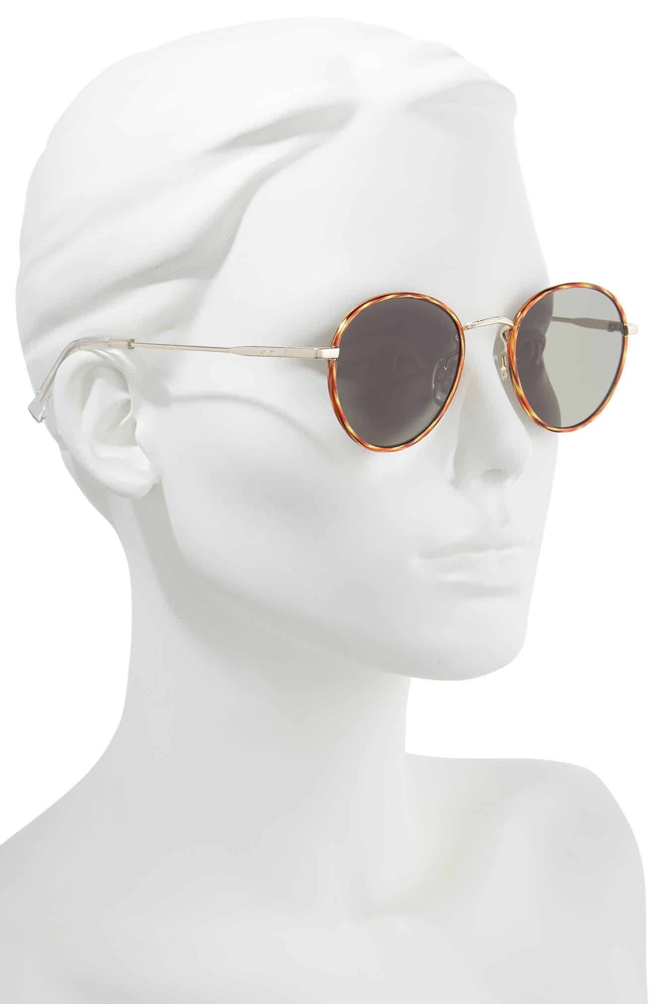 Zephyr Deux 50mm Round Sunglasses,                             Alternate thumbnail 2, color,                             VINTAGE TORTOISE