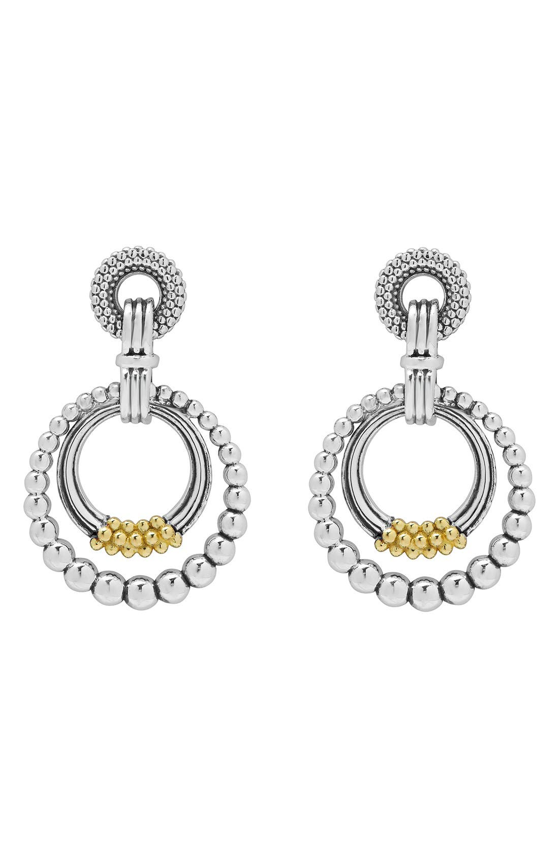 Caviar 'Superfine' Two-Tone Door Knocker Earrings,                             Alternate thumbnail 3, color,                             040