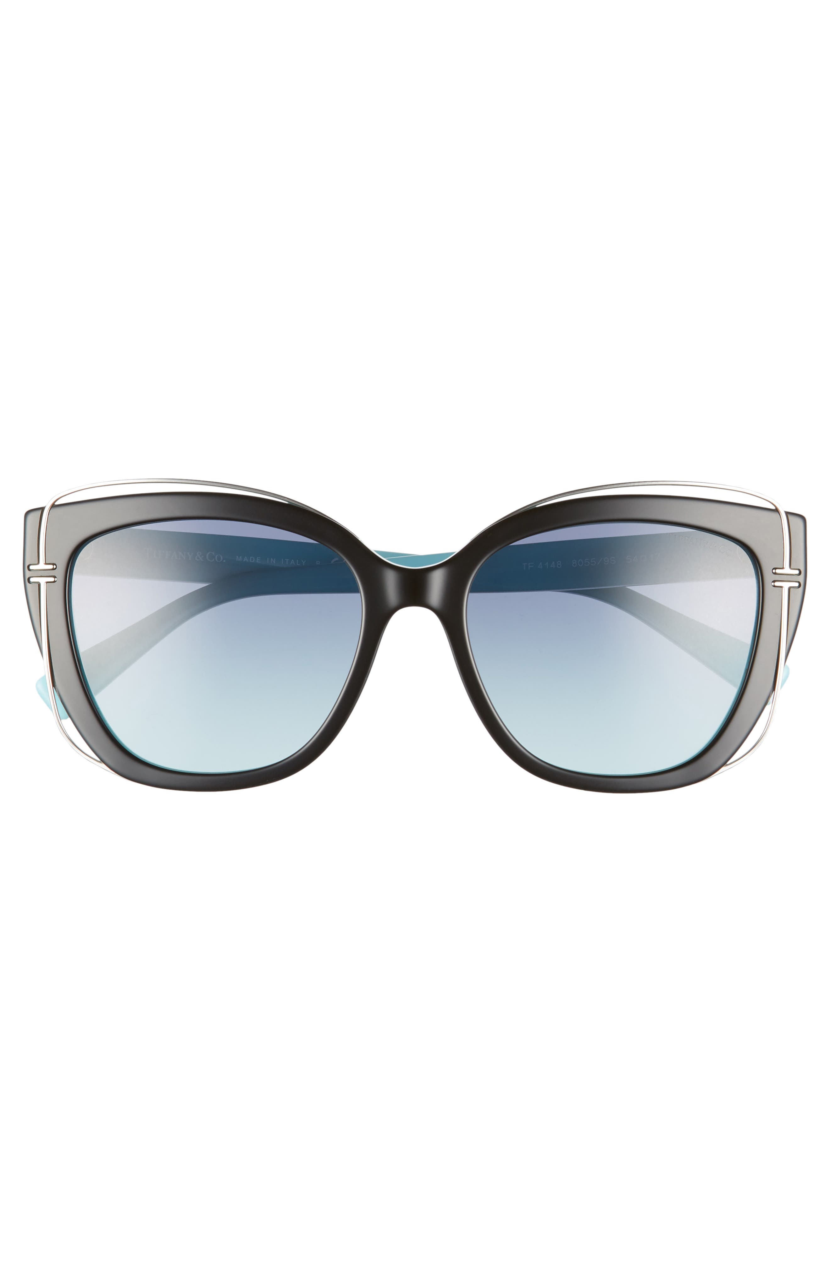 54mm Gradient Cat Eye Sunglasses,                             Alternate thumbnail 3, color,                             BLACK/ BLUE GRADIENT