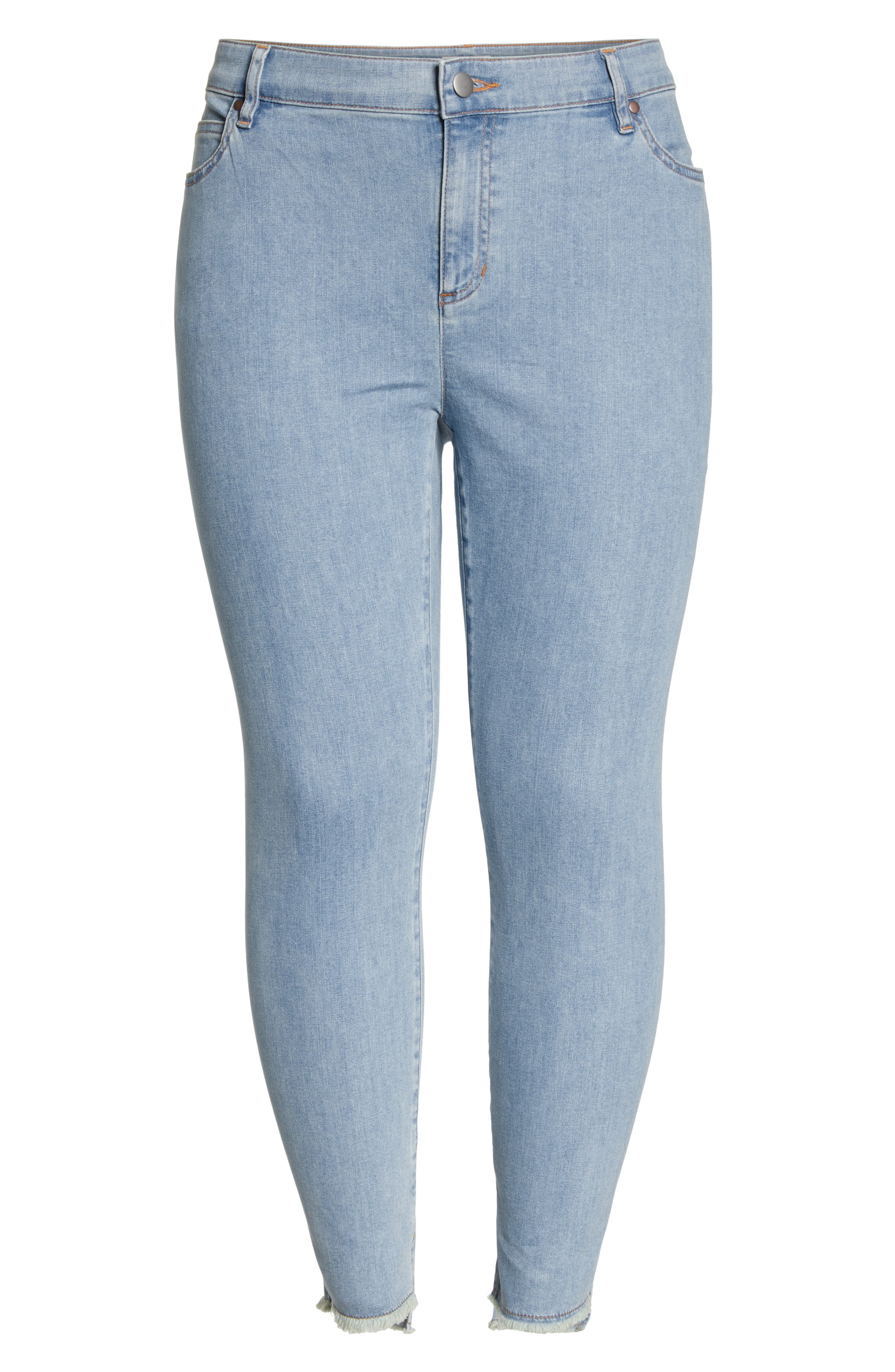 Fray Step Hem Ankle Skinny Jeans,                             Alternate thumbnail 7, color,                             FROST