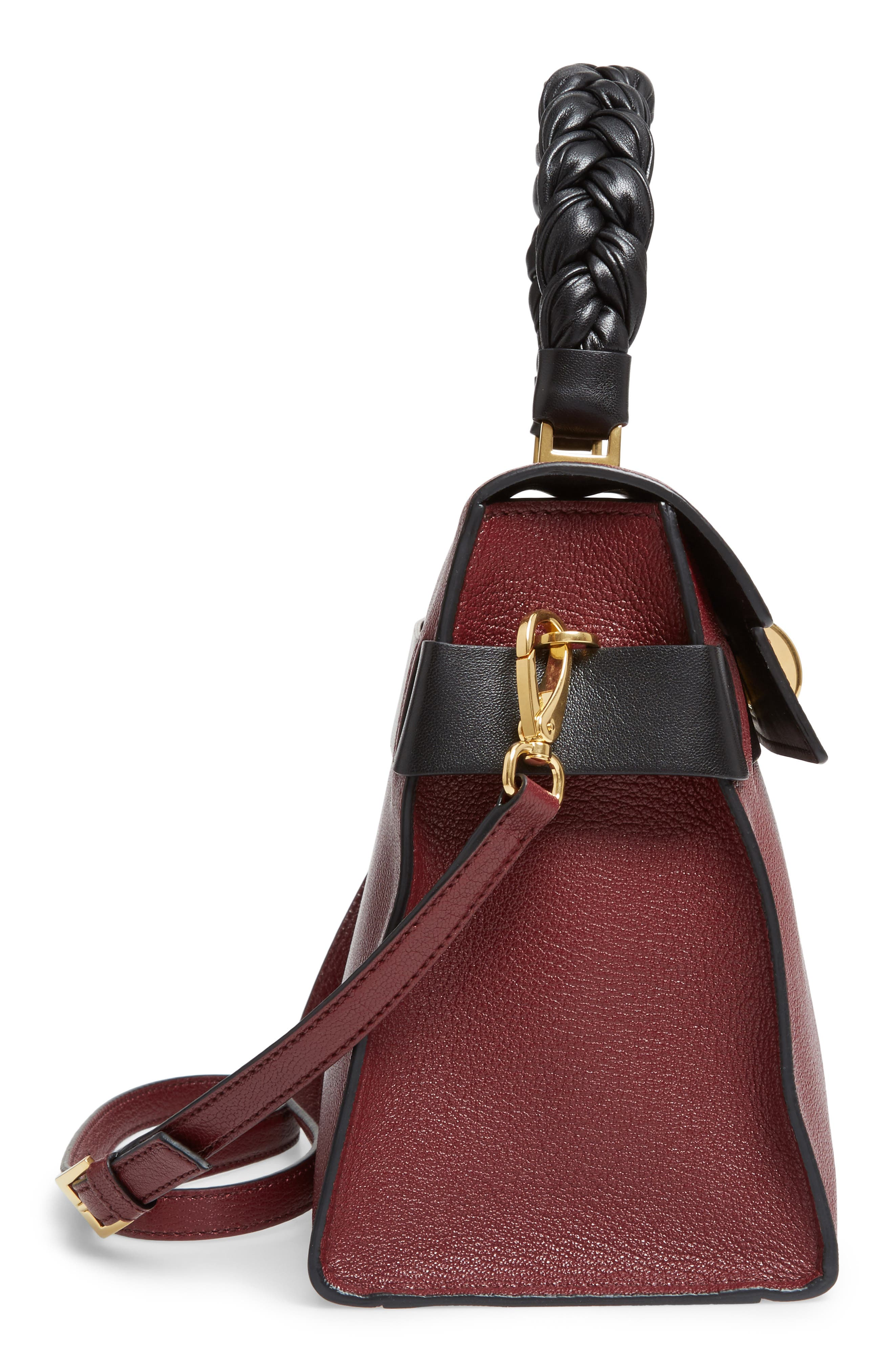 Madras Click Goatskin Leather Satchel,                             Alternate thumbnail 5, color,                             930