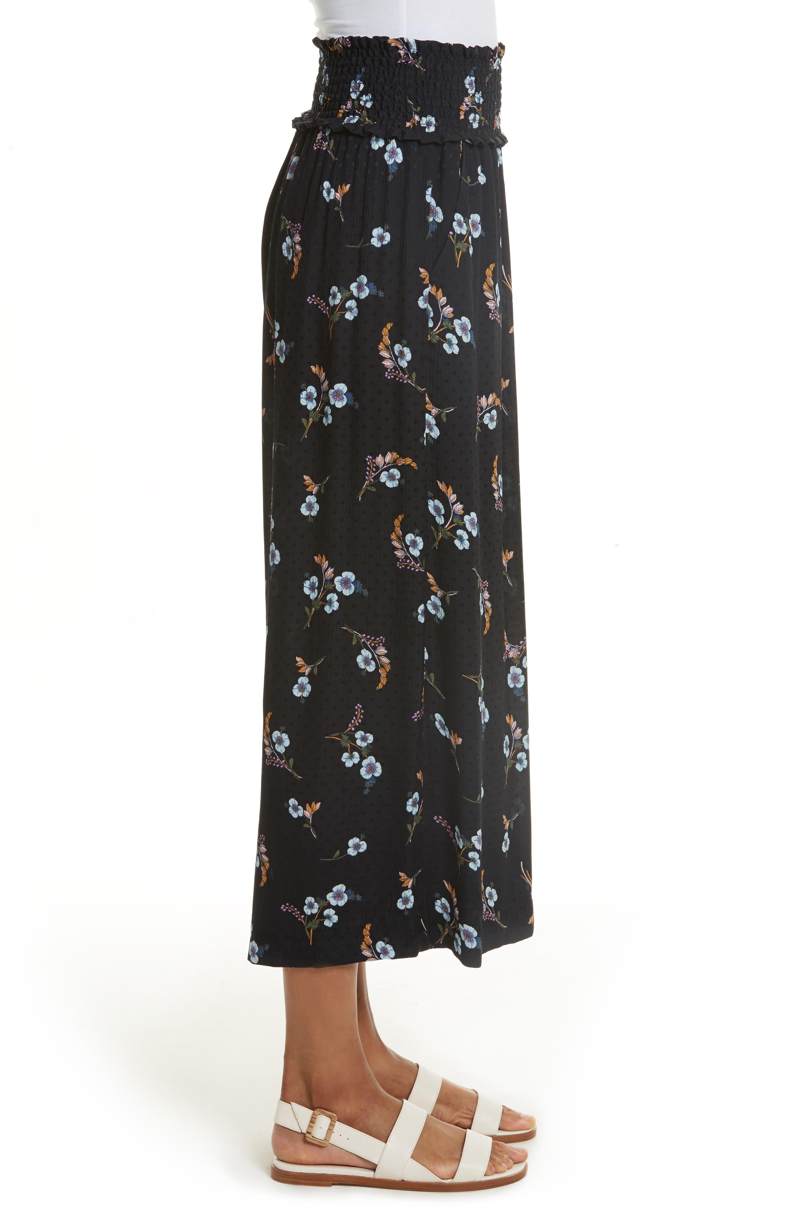 Natalie Fleur Wide Leg Crop Silk Pants,                             Alternate thumbnail 3, color,                             497