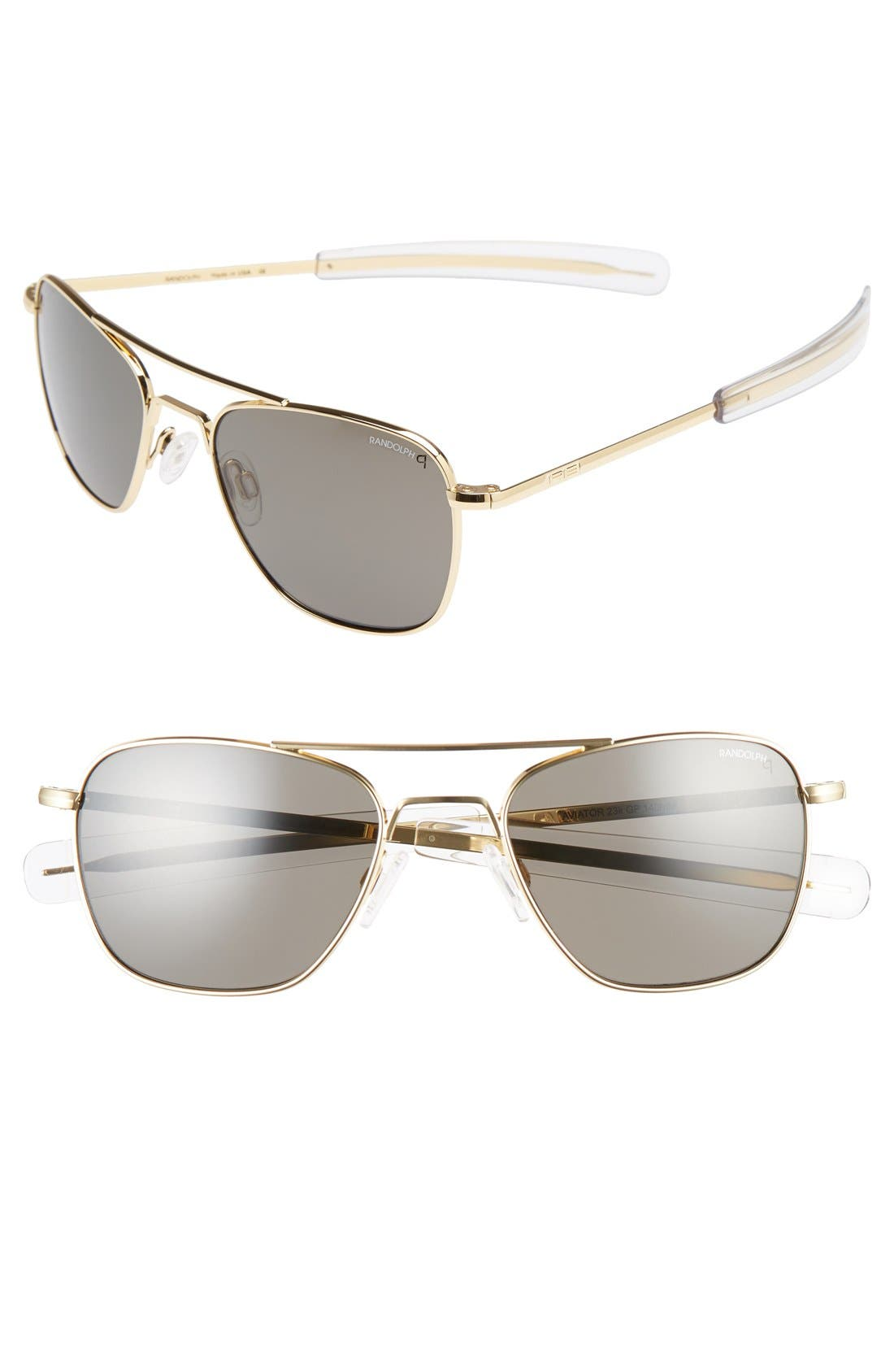 52mm Polarized Aviator Sunglasses,                             Main thumbnail 1, color,                             711