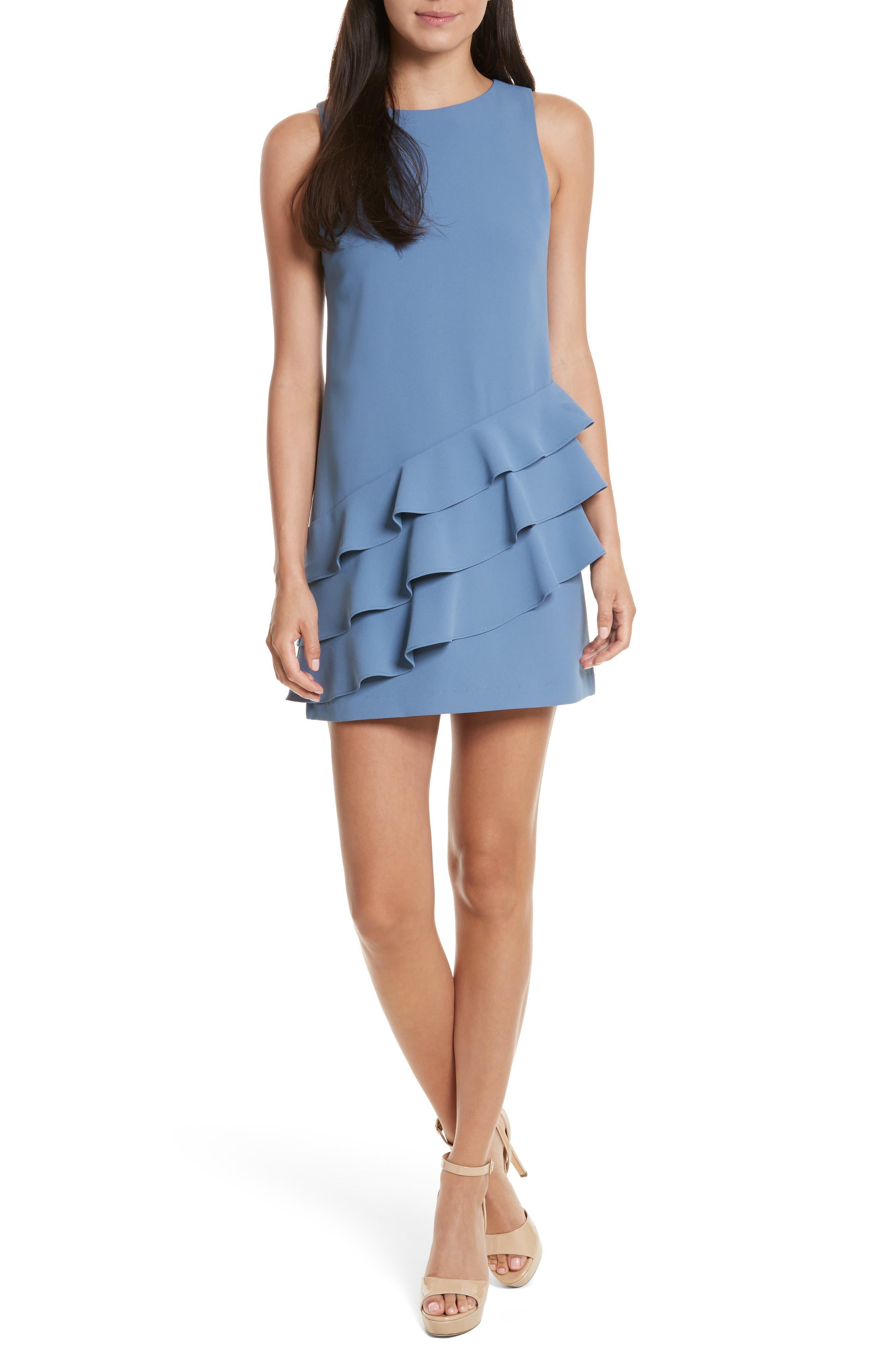 Clive Asymmetrical Ruffle A-Line Dress,                             Main thumbnail 1, color,                             402