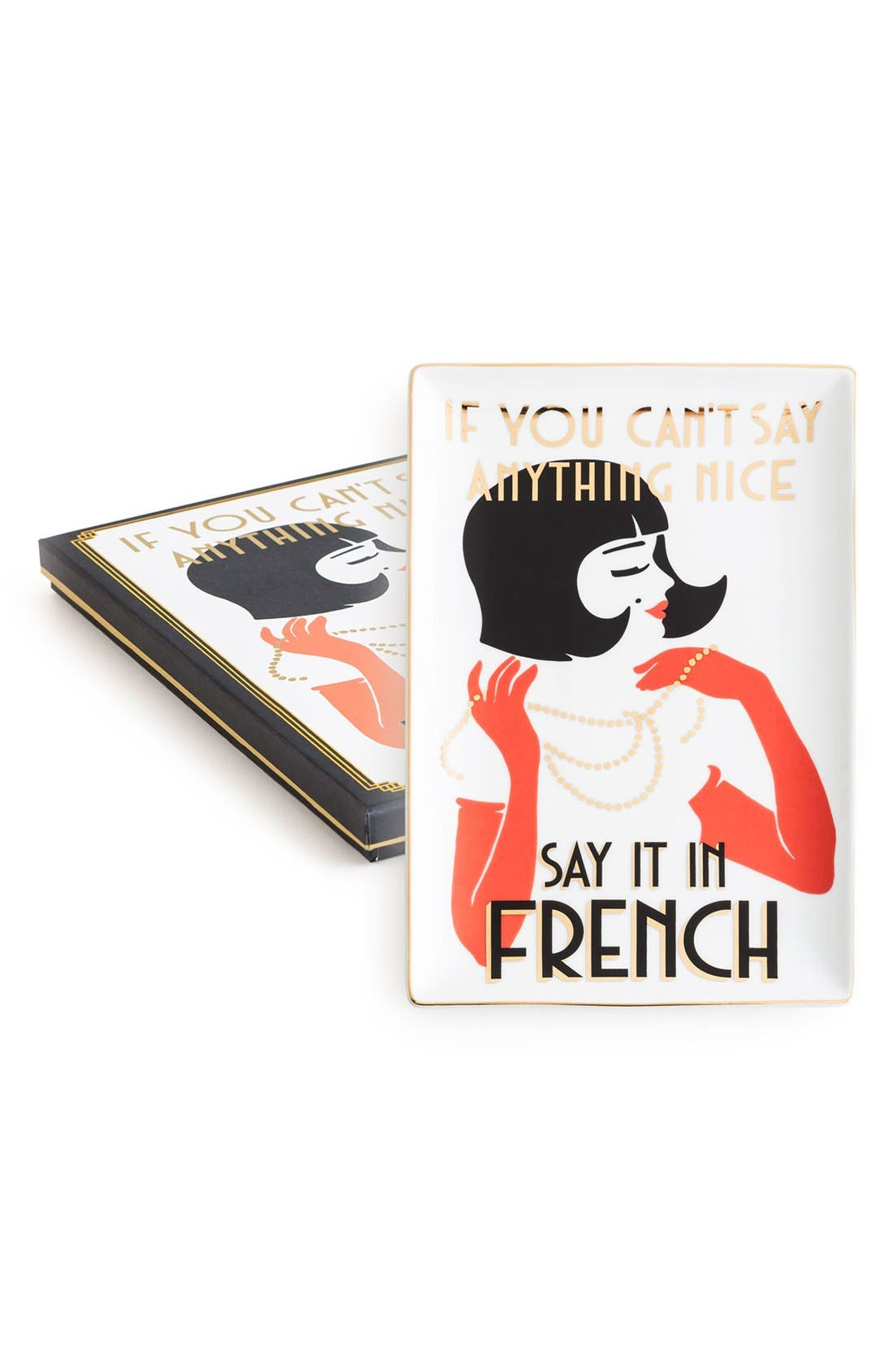 'If You Can't Say Anything Nice, Say It in French' Porcelain Tray, Main, color, 100