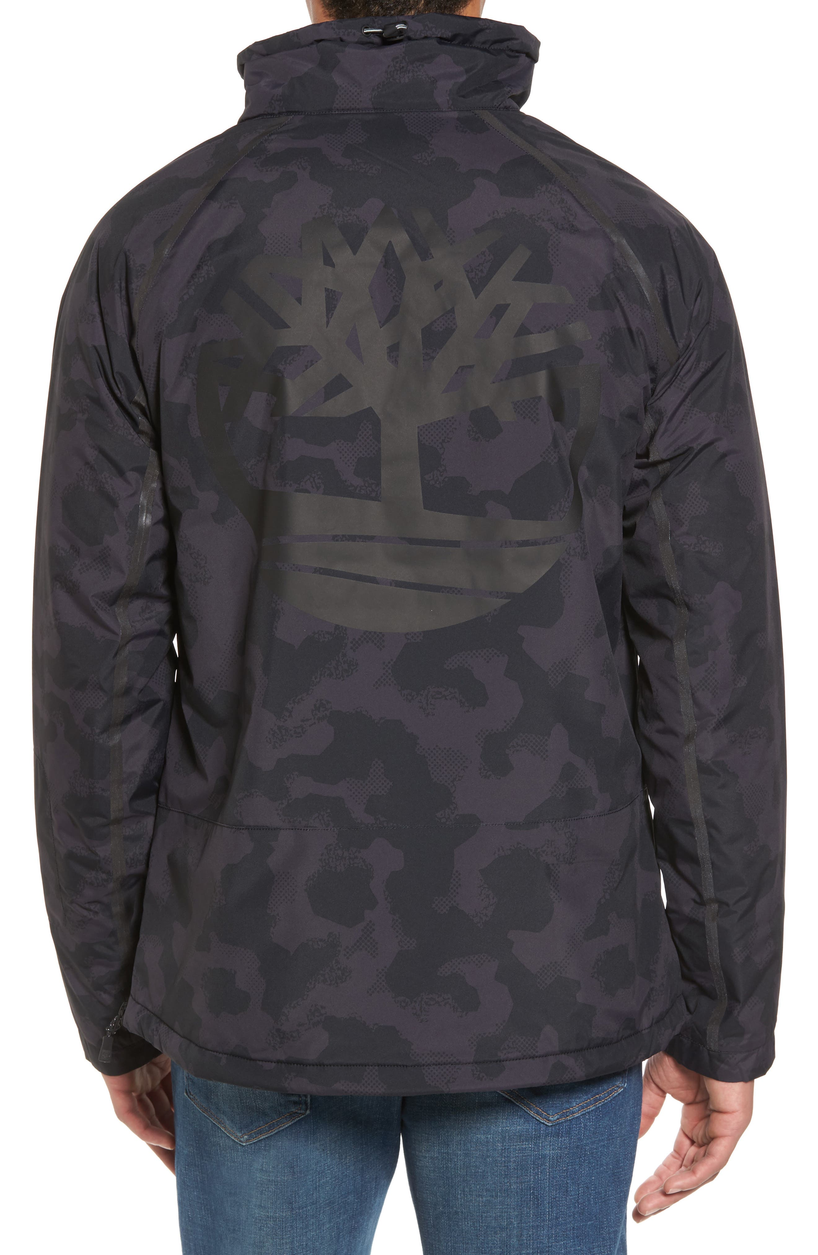 Asymmetrical Water-Repellent Funnel Neck Pullover,                             Alternate thumbnail 2, color,                             001