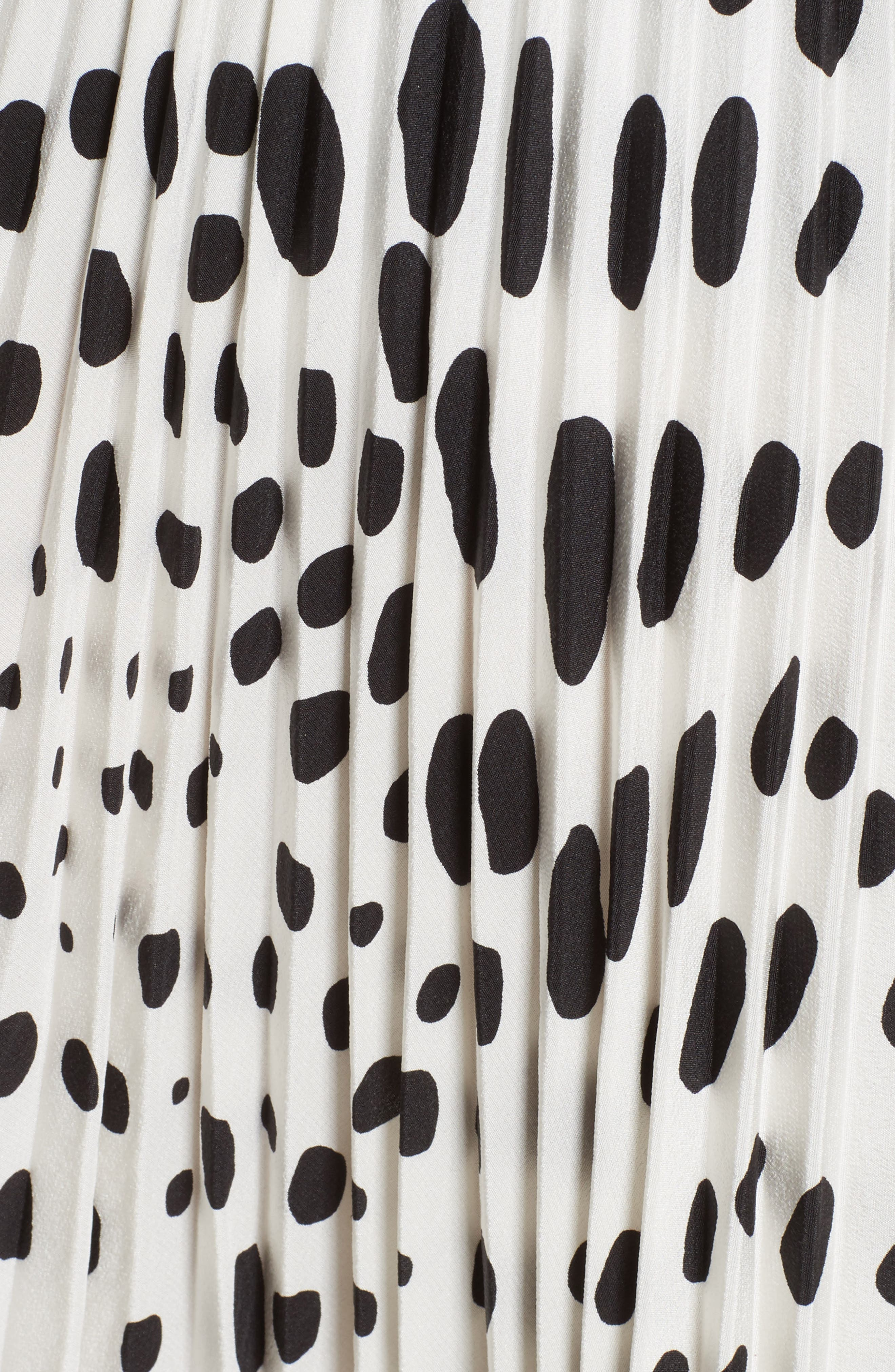 Pleated Polka Dot Silk Skirt,                             Alternate thumbnail 6, color,                             160