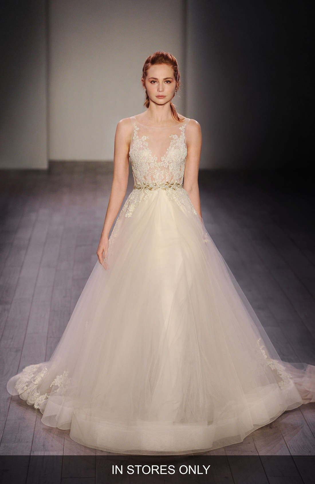 Lace Appliqué Tulle Ballgown Dress,                             Main thumbnail 1, color,                             IVORY/GOLD/CHAMPAGNE