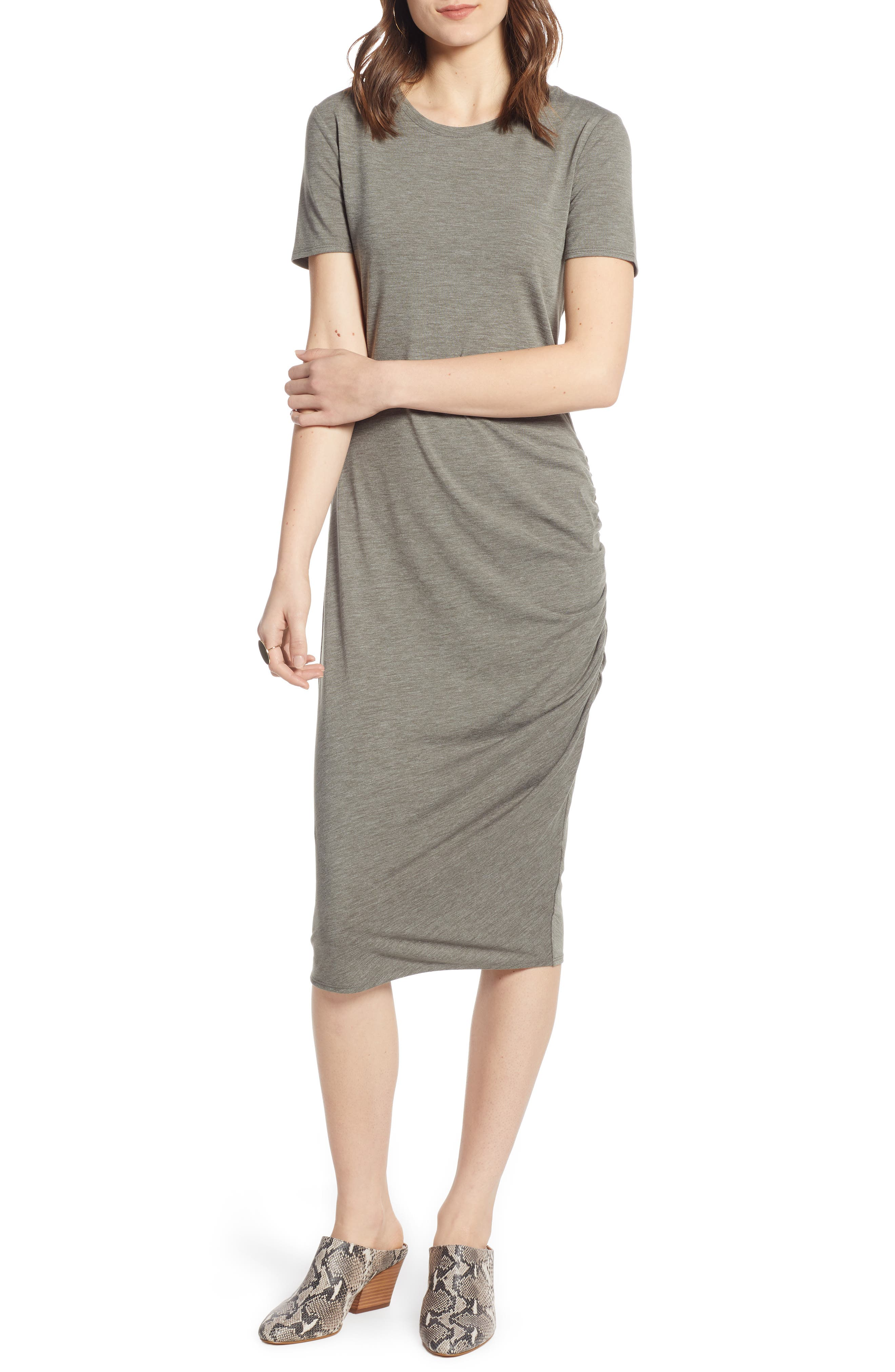 TREASURE & BOND, Side Ruched Body-Con Dress, Alternate thumbnail 6, color, OLIVE SARMA HEATHER