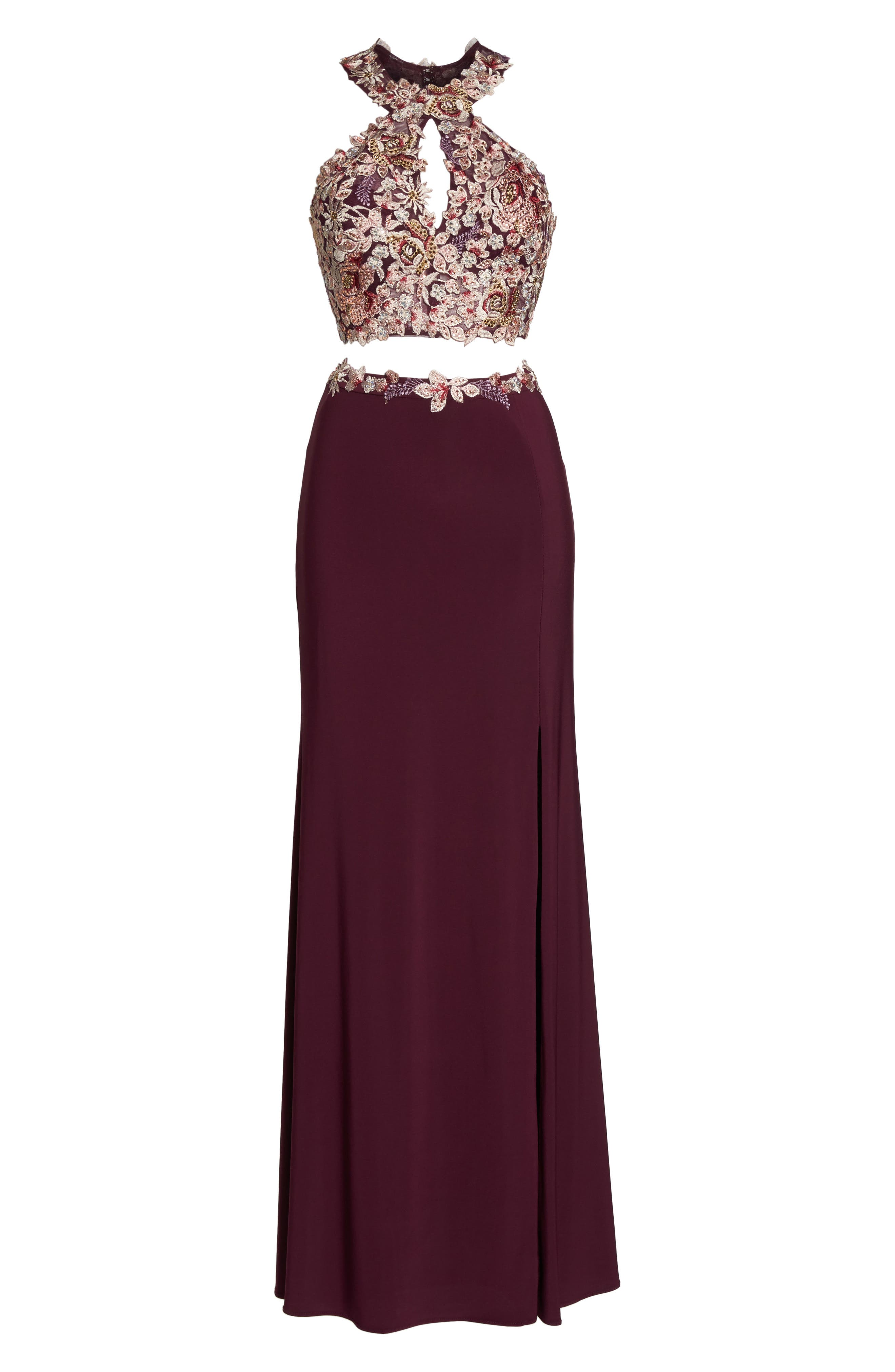 Embroidered Two-Piece Gown,                             Alternate thumbnail 6, color,                             WINE