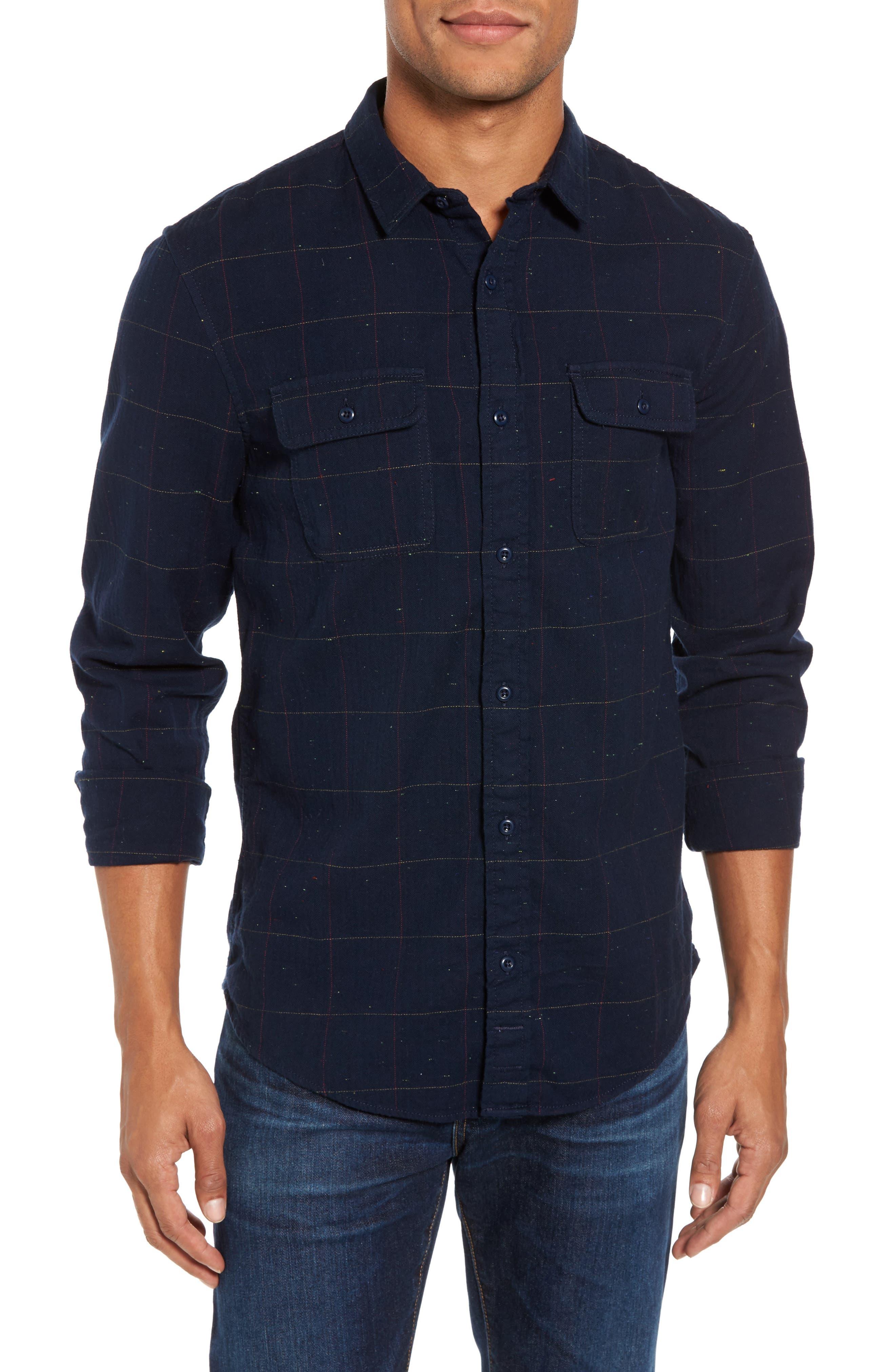 Herringbone Plaid Flannel Shirt,                         Main,                         color, 411
