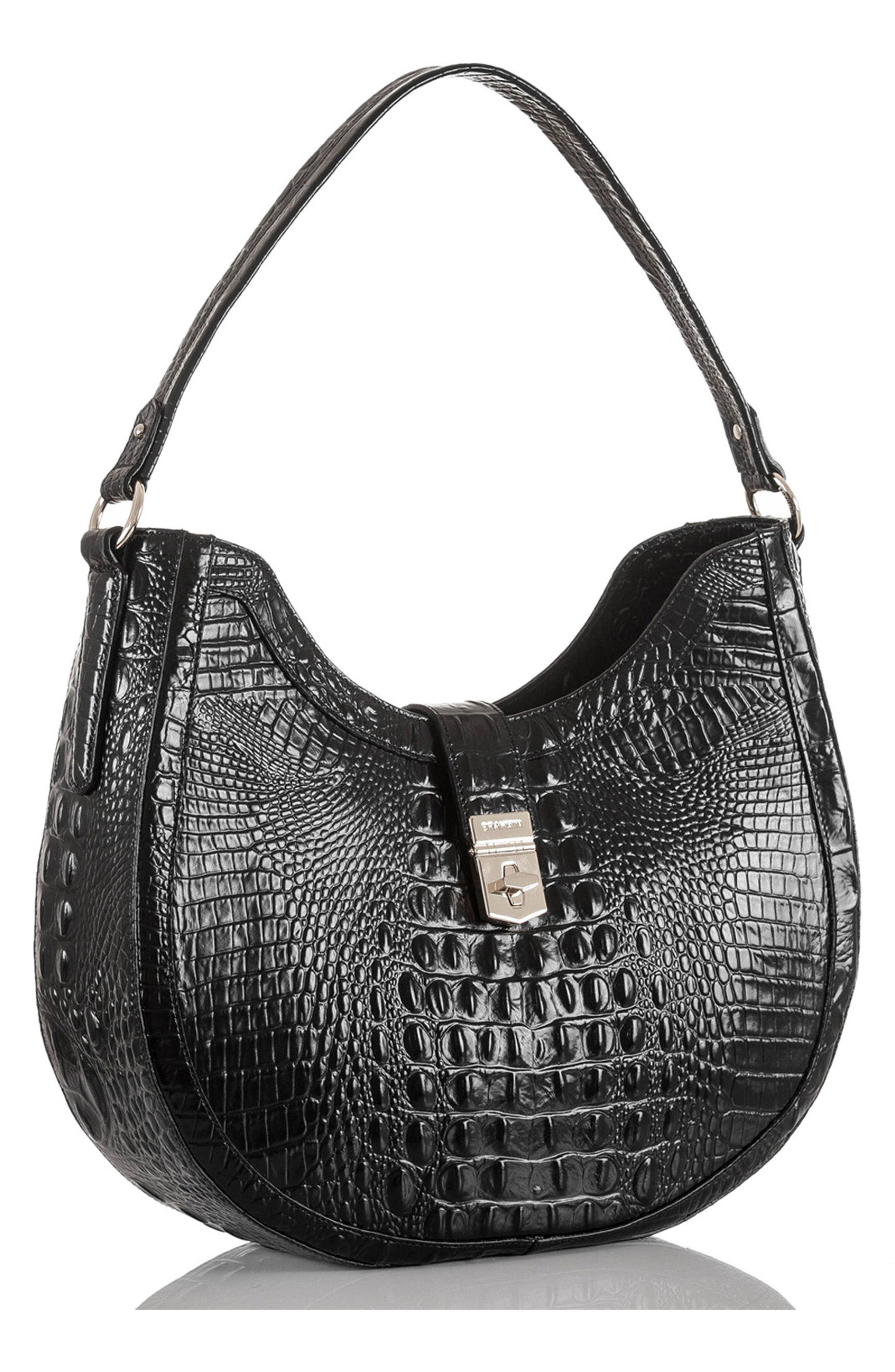 Bethany Croc Embossed Leather Hobo,                             Alternate thumbnail 4, color,                             001