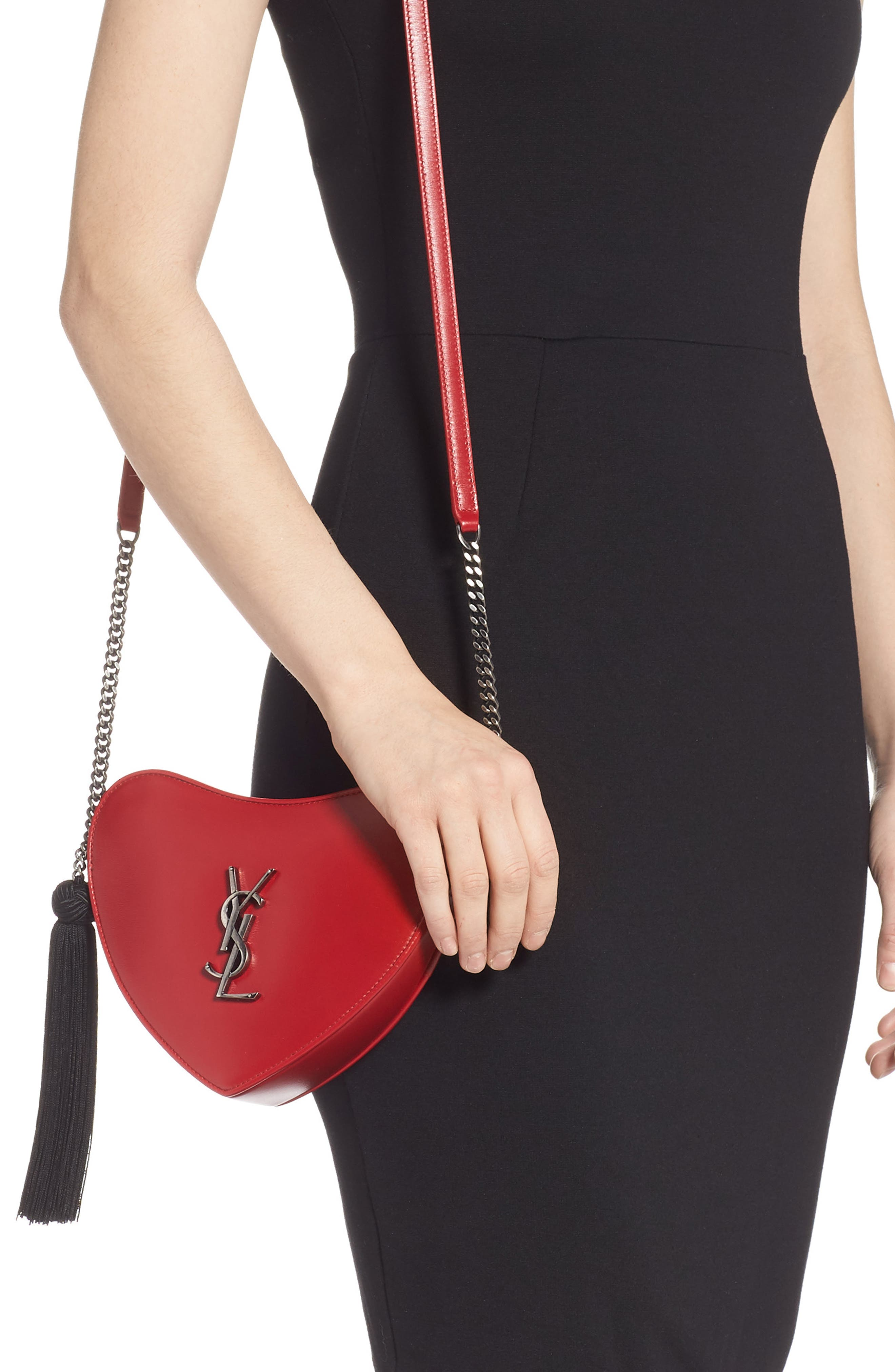 Sac Coeur Leather Crossbody Bag,                             Alternate thumbnail 2, color,                             BANDANA RED/ NOIR