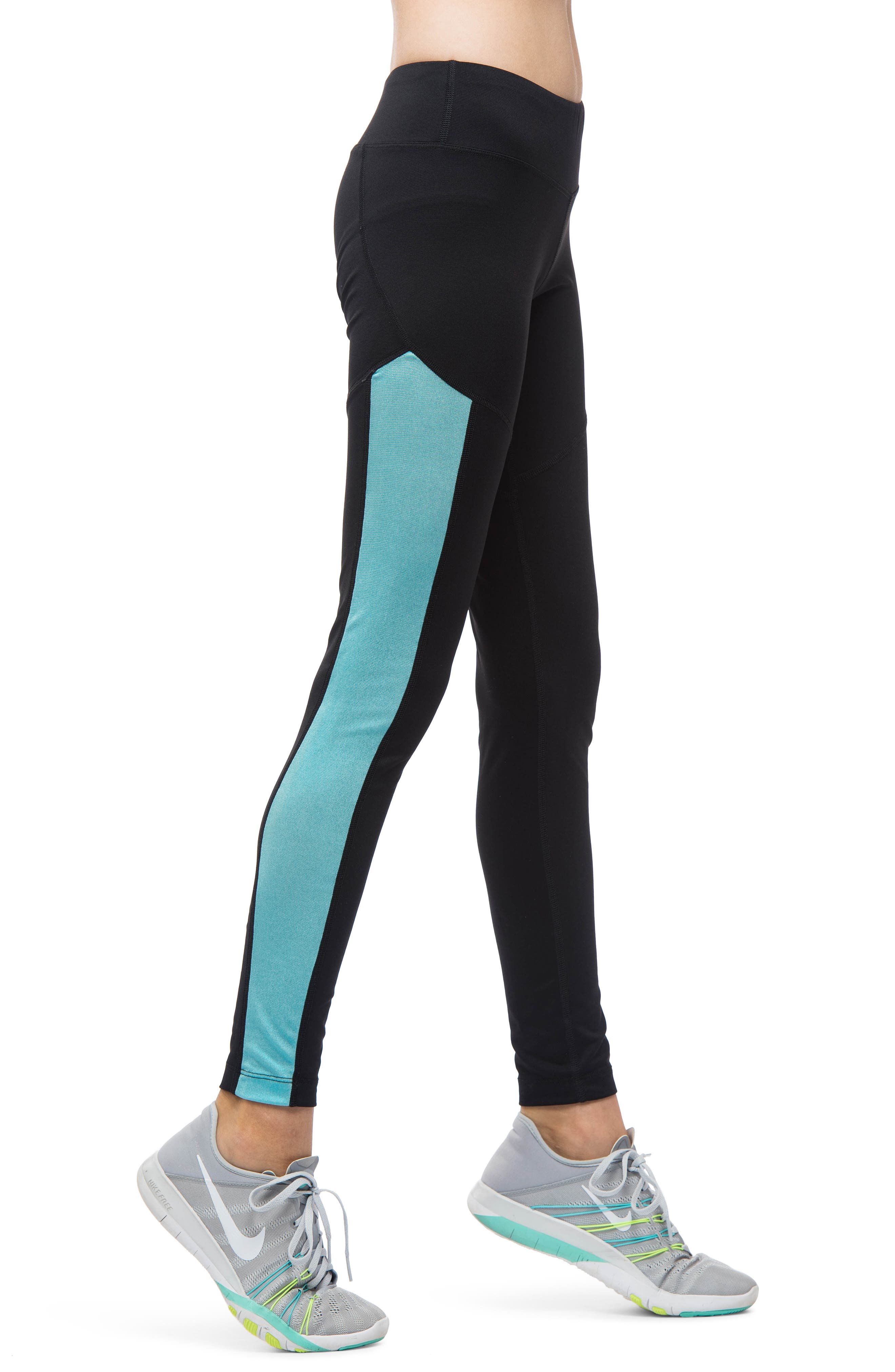 MIRA RAE,                             Zara Colorblock Leggings,                             Alternate thumbnail 3, color,                             001