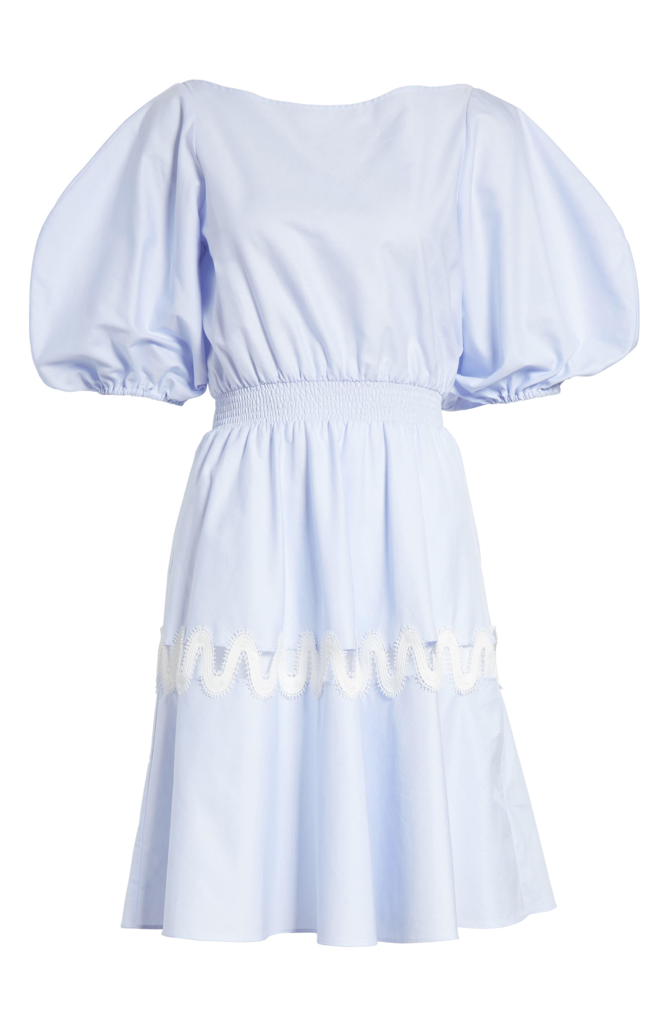Prose & Poetry Charleene Cotton Balloon Sleeve Dress,                             Alternate thumbnail 6, color,