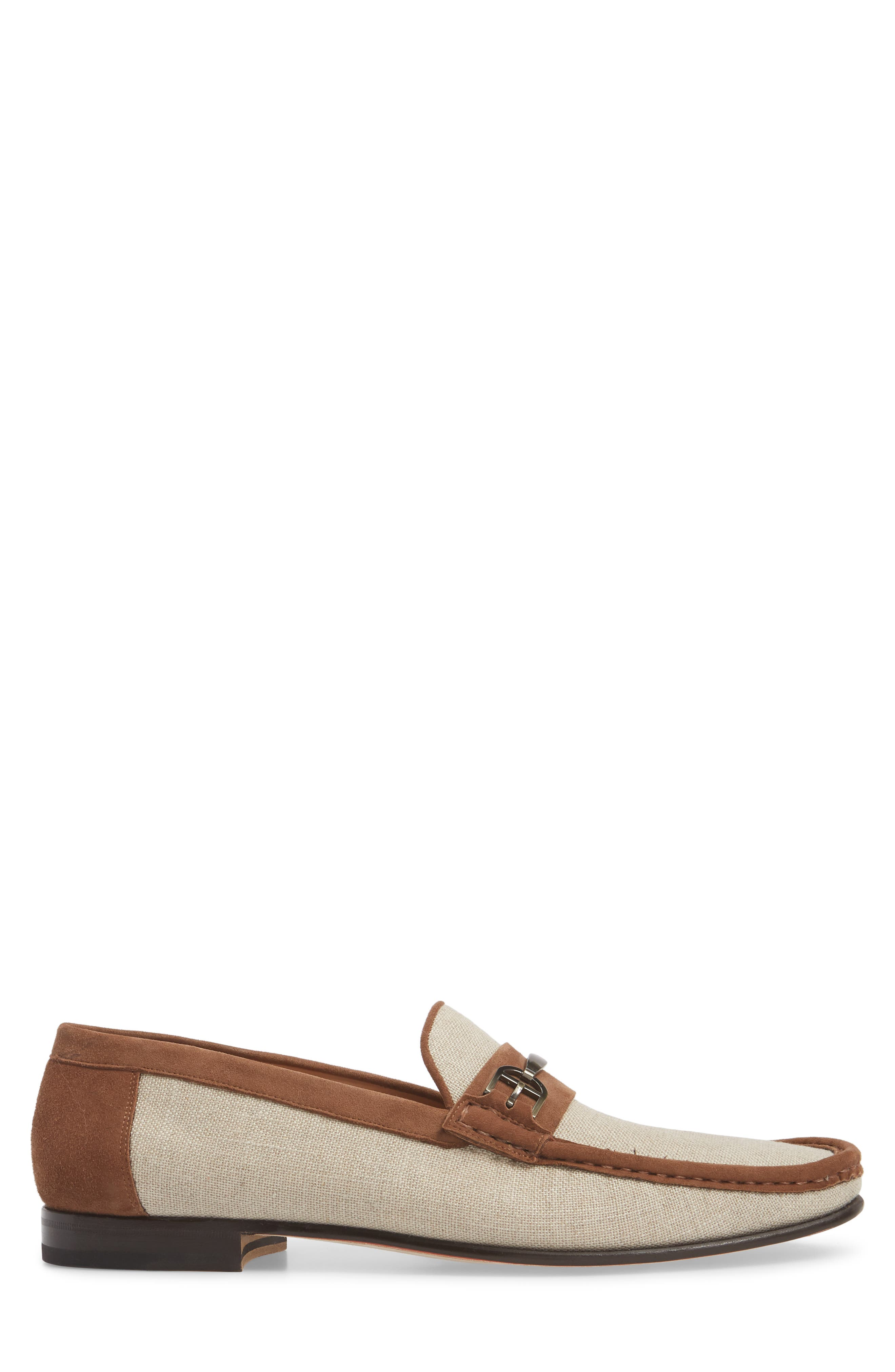 Jason Two-Tone Bit Loafer,                             Alternate thumbnail 3, color,                             BONE/ COGNAC LINEN/ SUEDE
