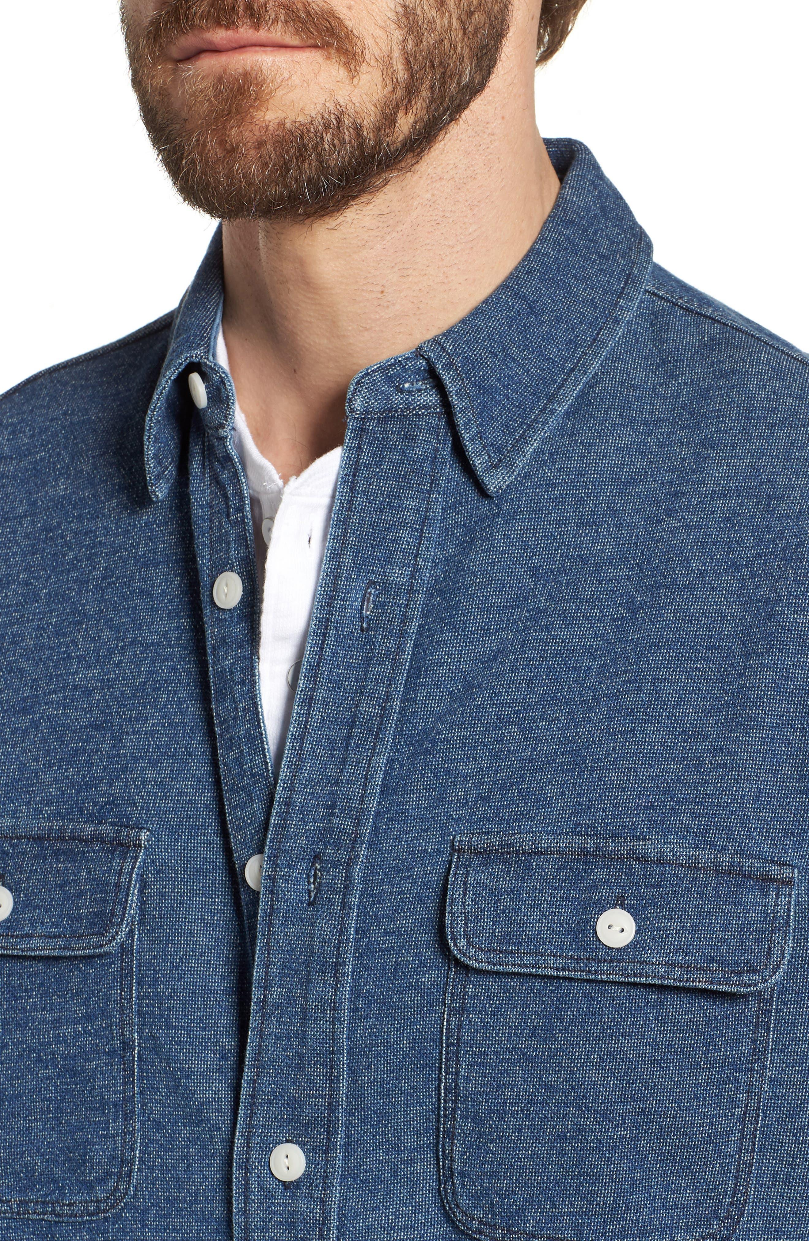 Belmar Chambray Knit Sport Shirt,                             Alternate thumbnail 4, color,