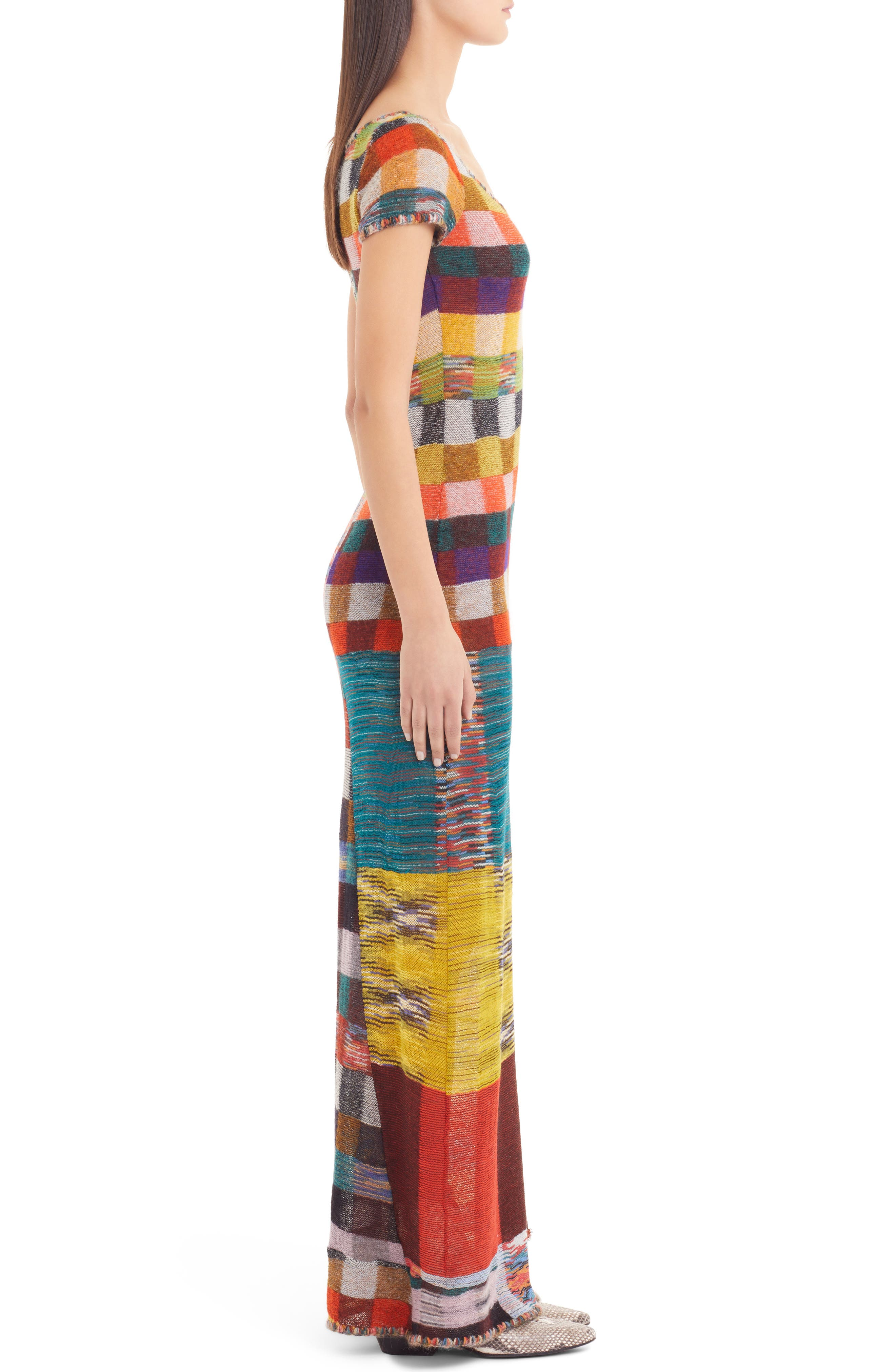 Stretch Wool Maxi Dress,                             Alternate thumbnail 3, color,                             800